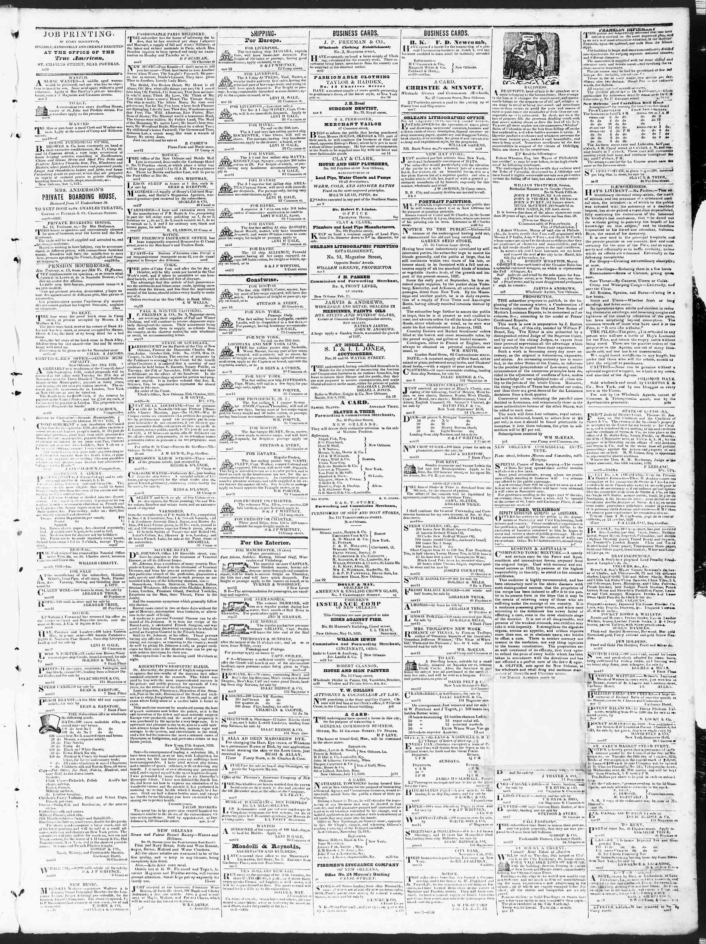 November 23, 1838 Tarihli True American Gazetesi Sayfa 3