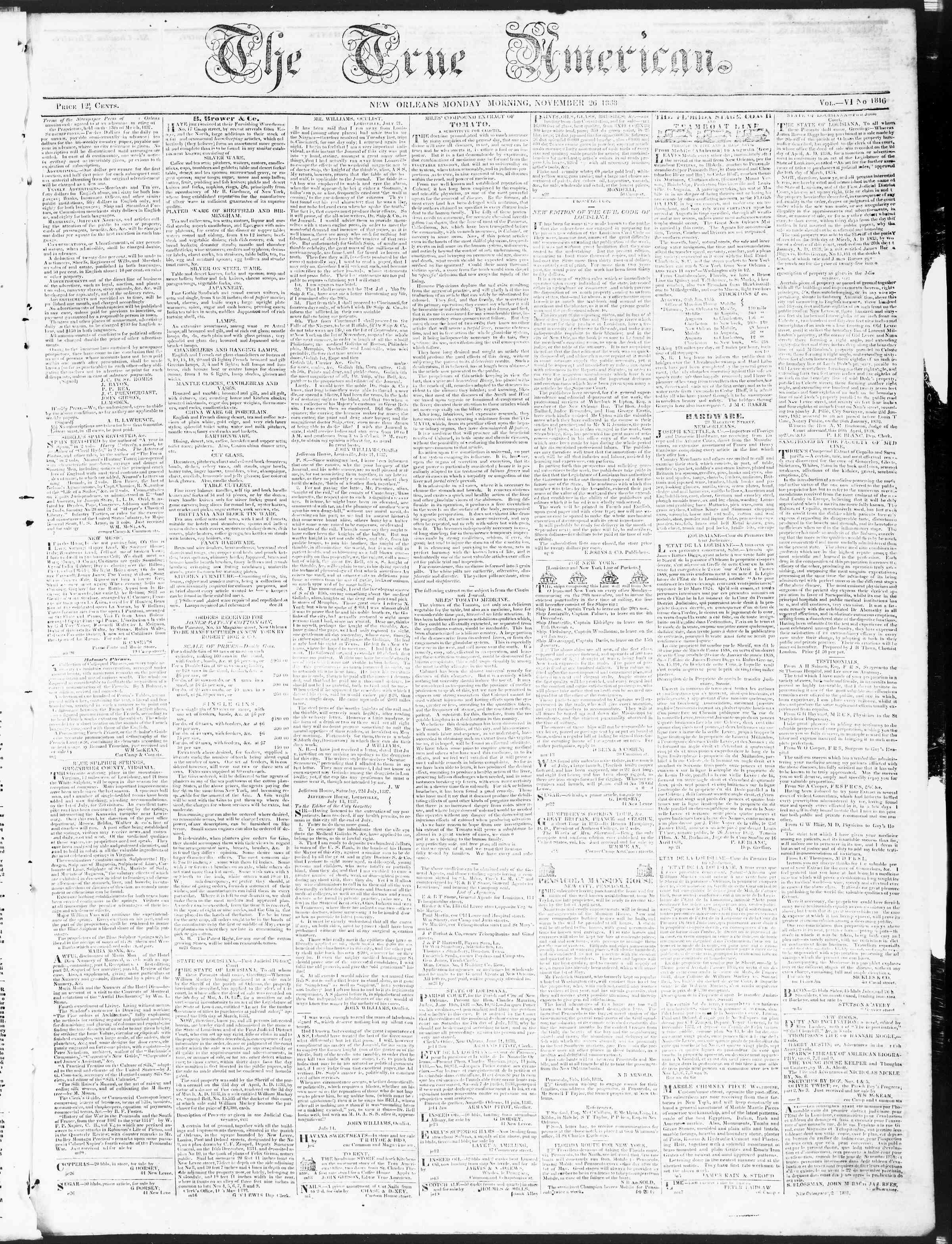 November 26, 1838 Tarihli True American Gazetesi Sayfa 1