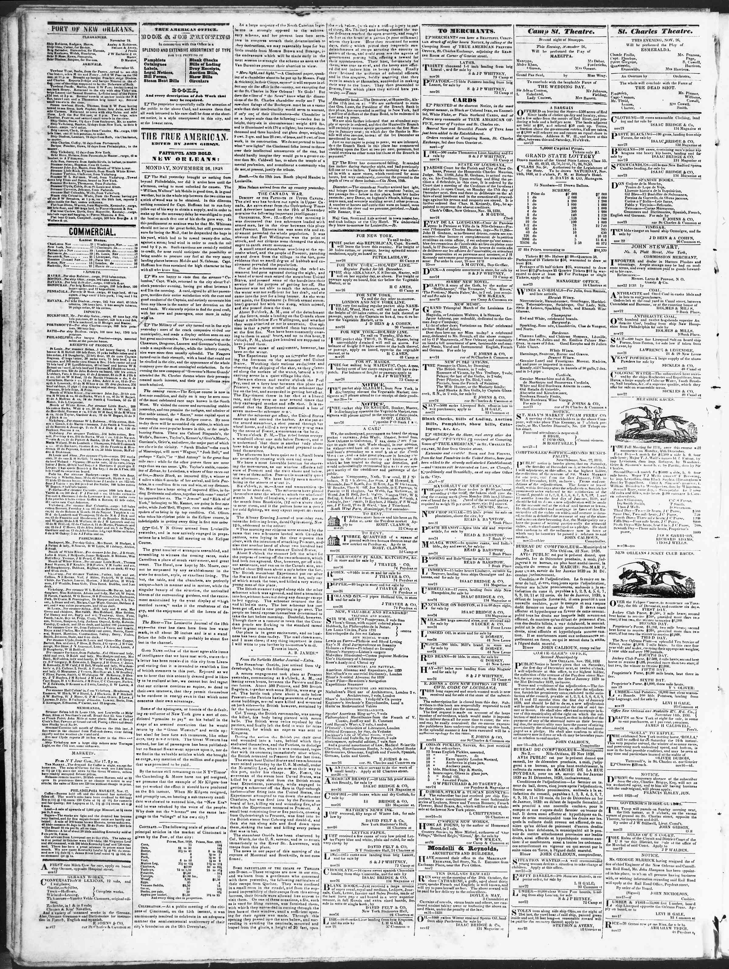Newspaper of True American dated November 26, 1838 Page 2
