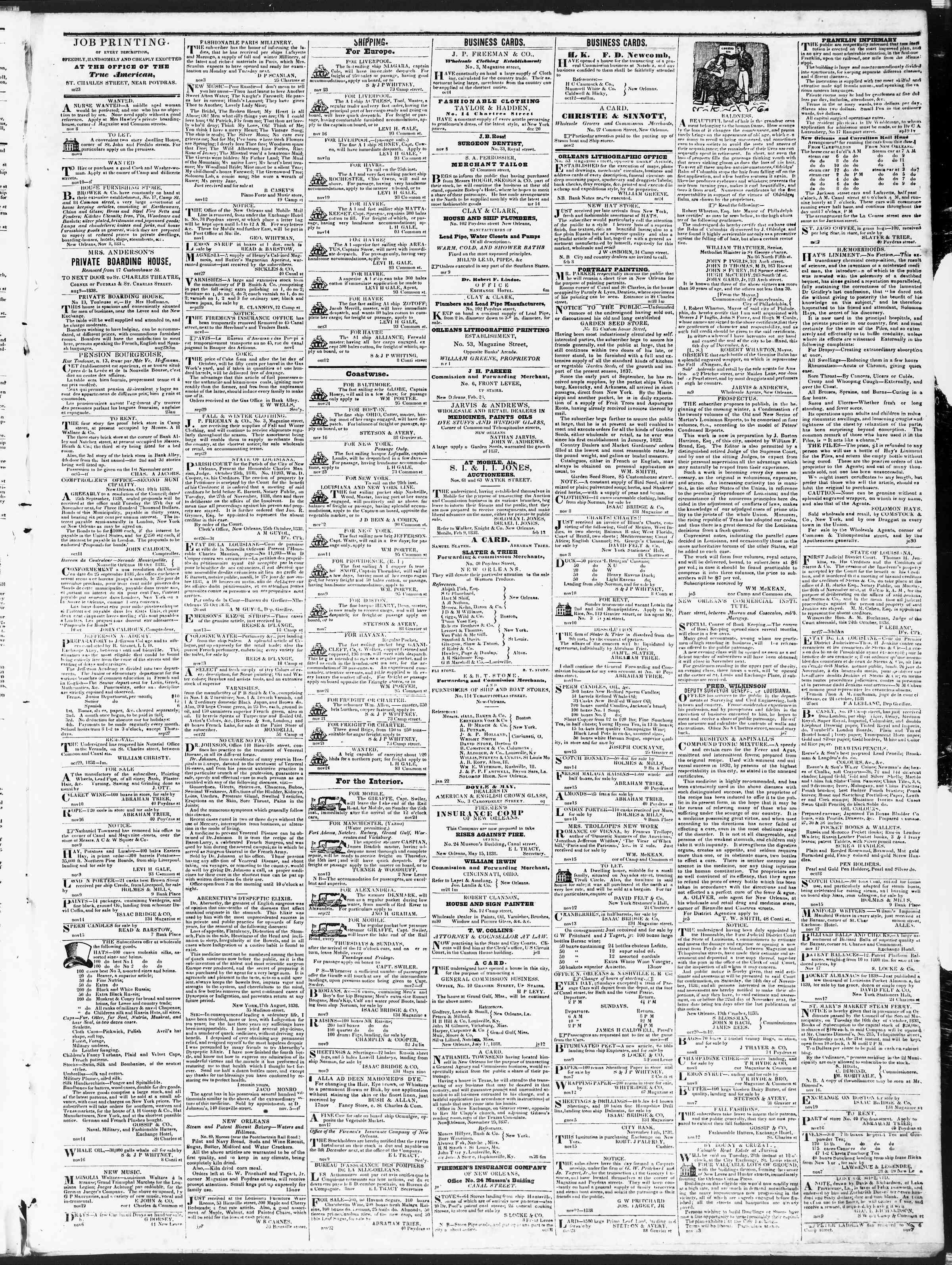 November 26, 1838 Tarihli True American Gazetesi Sayfa 3