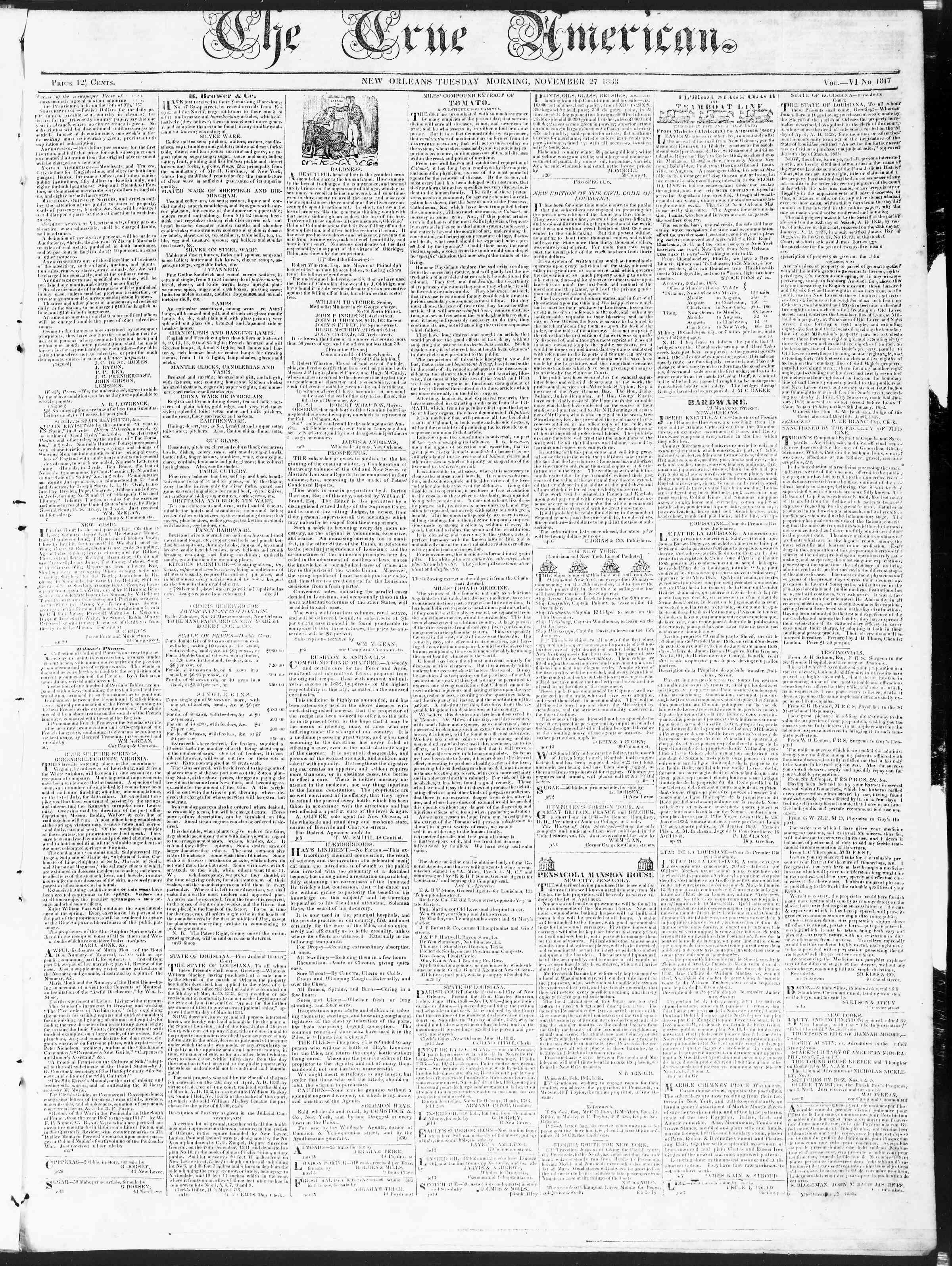 27 Kasım 1838 Tarihli True American Gazetesi Sayfa 1