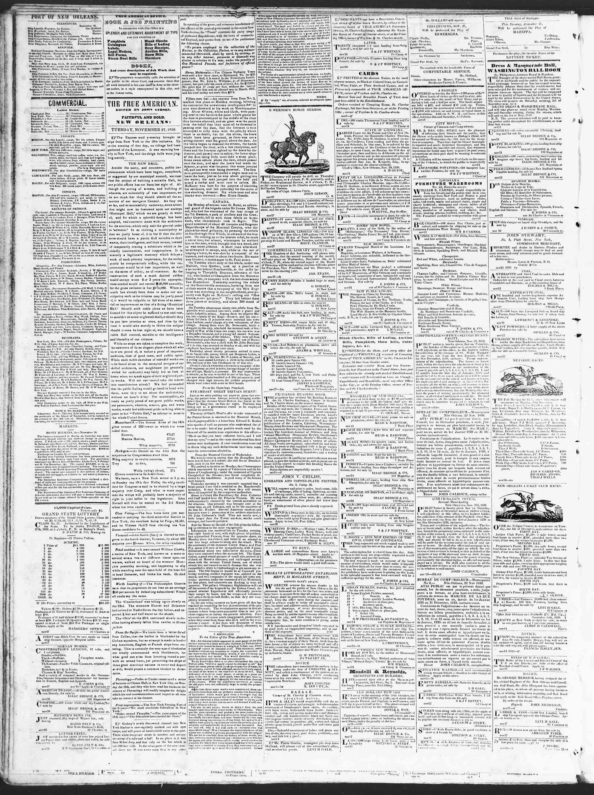 November 27, 1838 Tarihli True American Gazetesi Sayfa 2