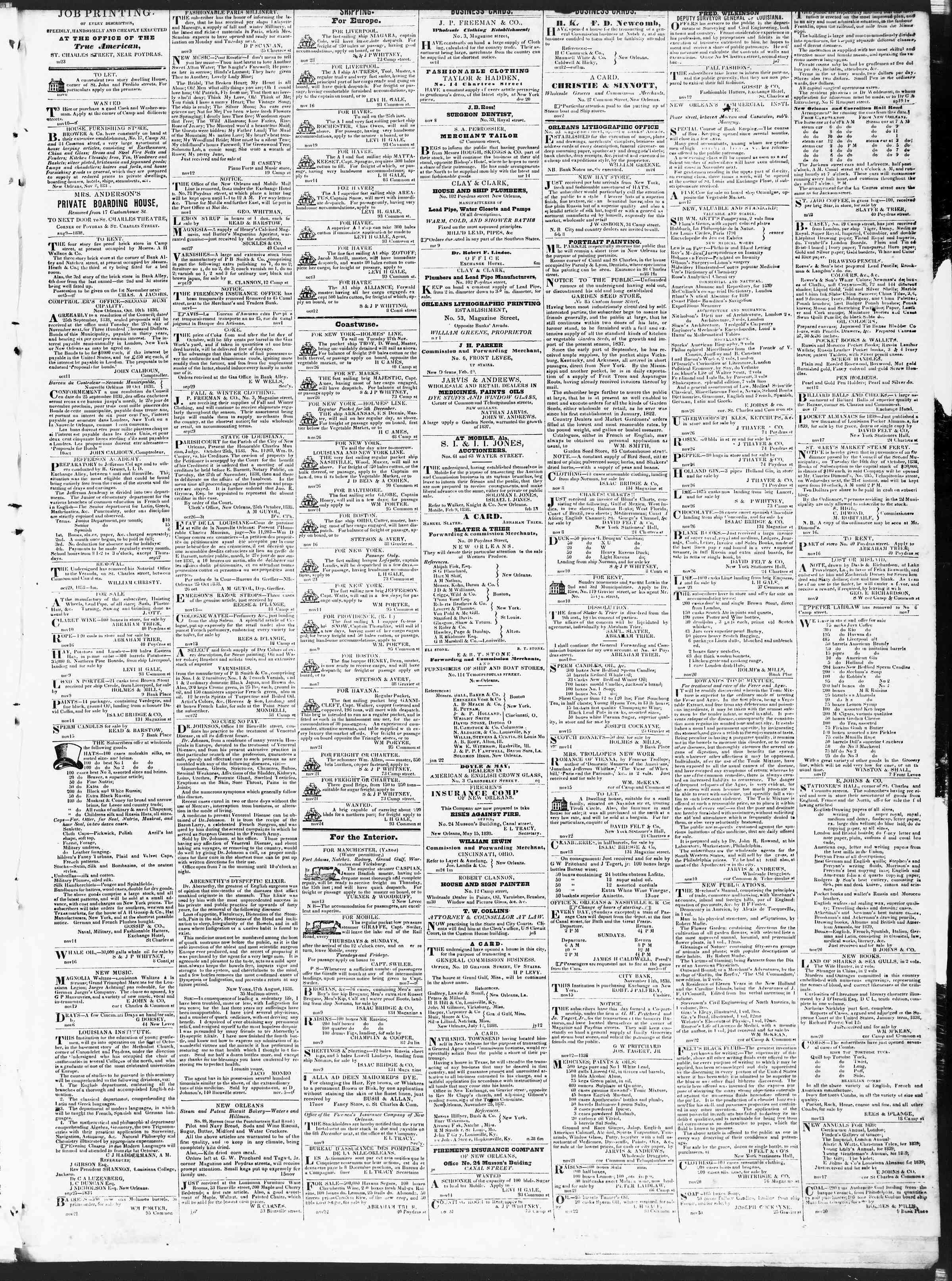 November 27, 1838 Tarihli True American Gazetesi Sayfa 3