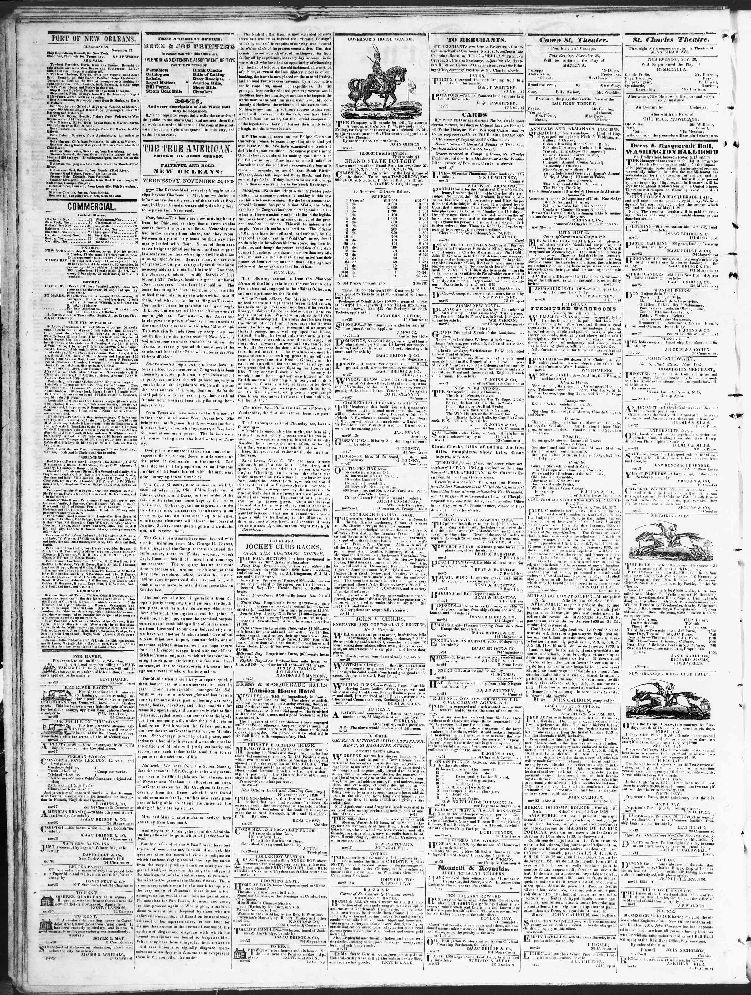 Newspaper of True American dated November 28, 1838 Page 2