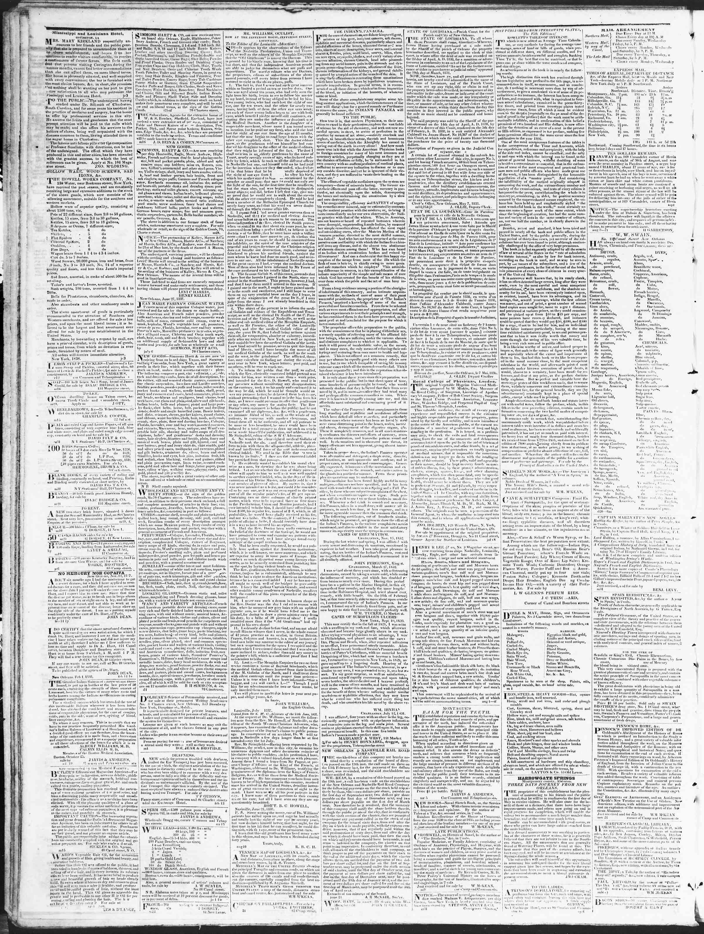 November 28, 1838 Tarihli True American Gazetesi Sayfa 4