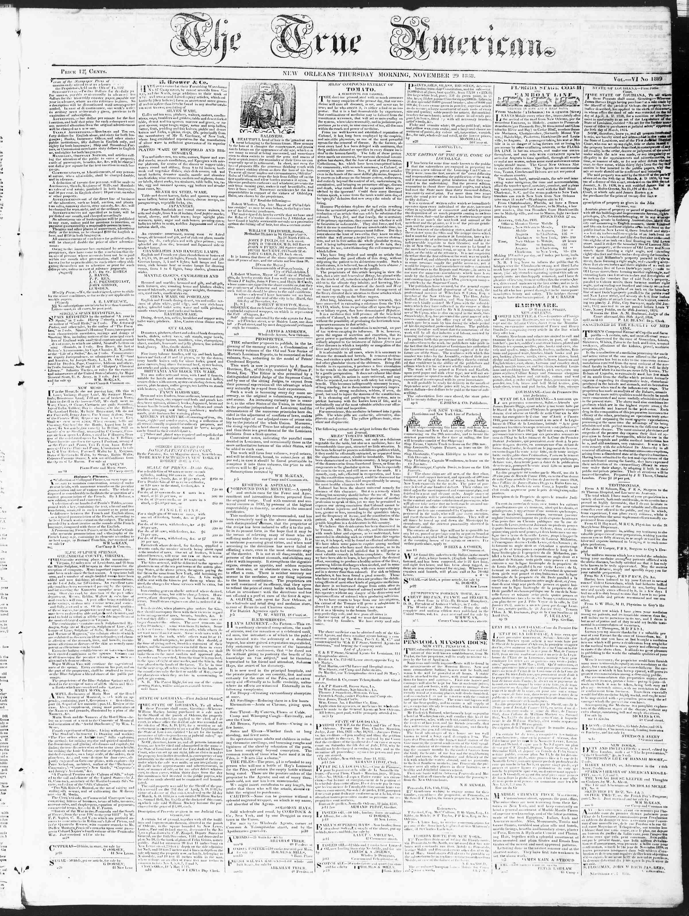 November 29, 1838 Tarihli True American Gazetesi Sayfa 1