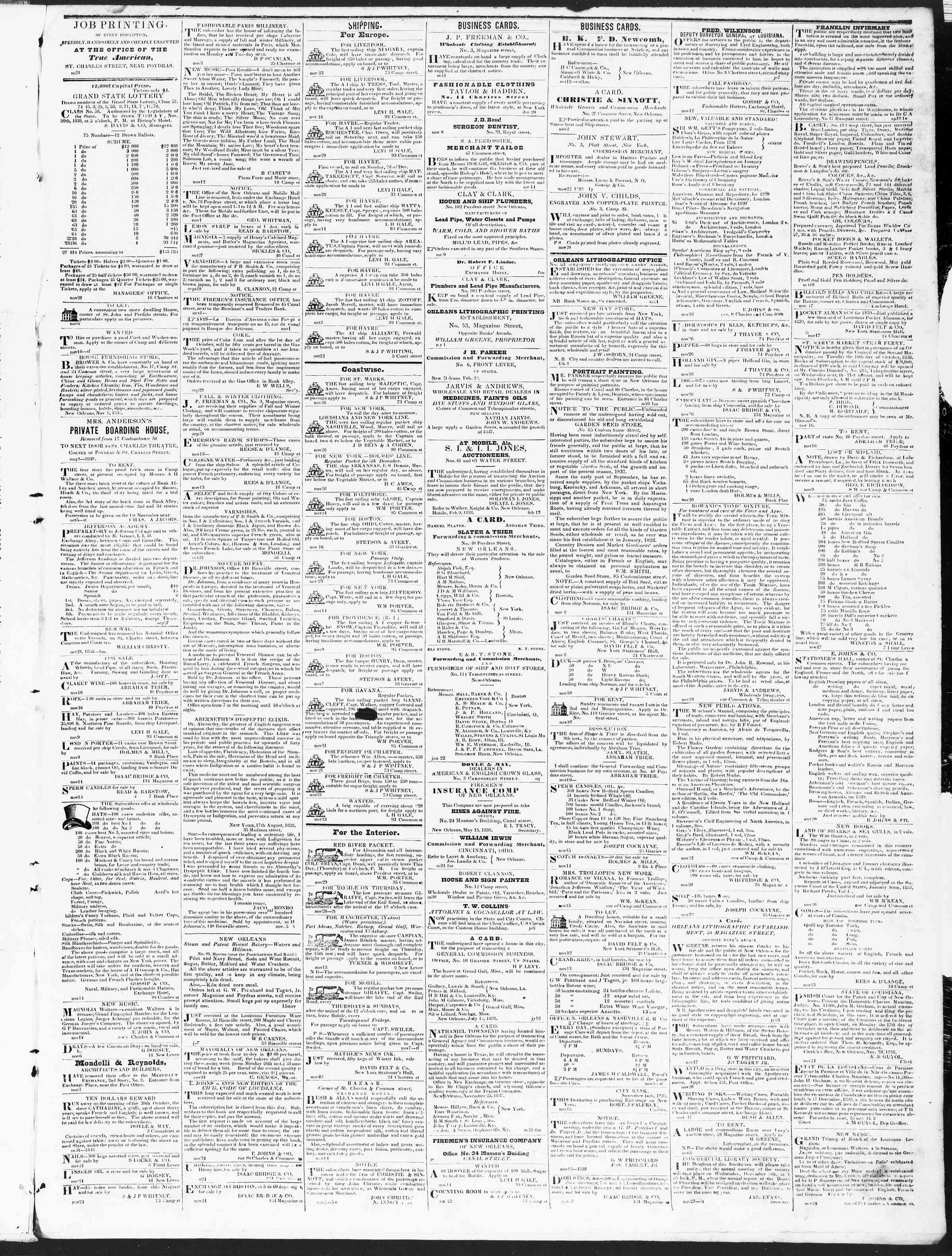November 29, 1838 Tarihli True American Gazetesi Sayfa 3