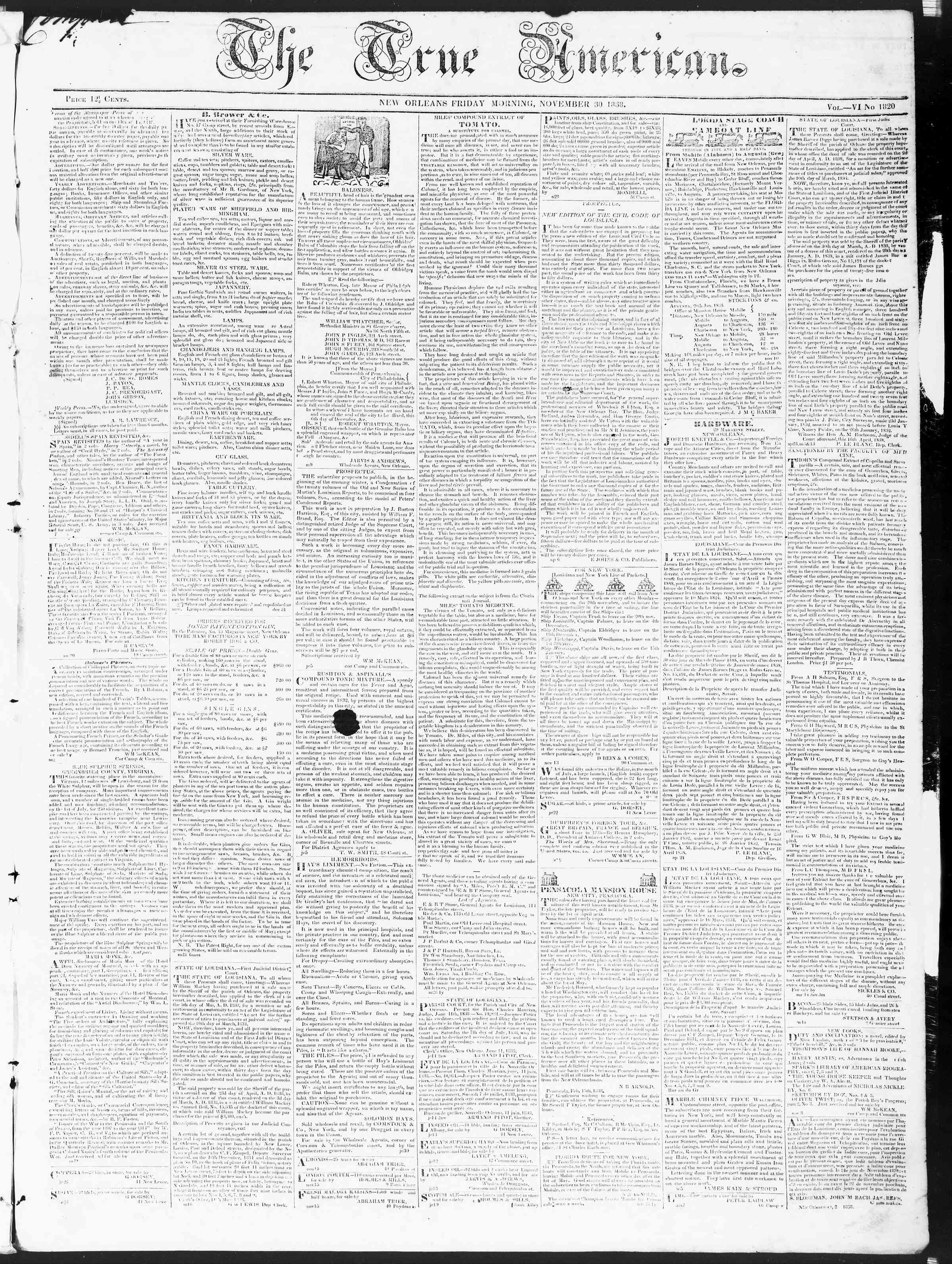 Newspaper of True American dated November 30, 1838 Page 1