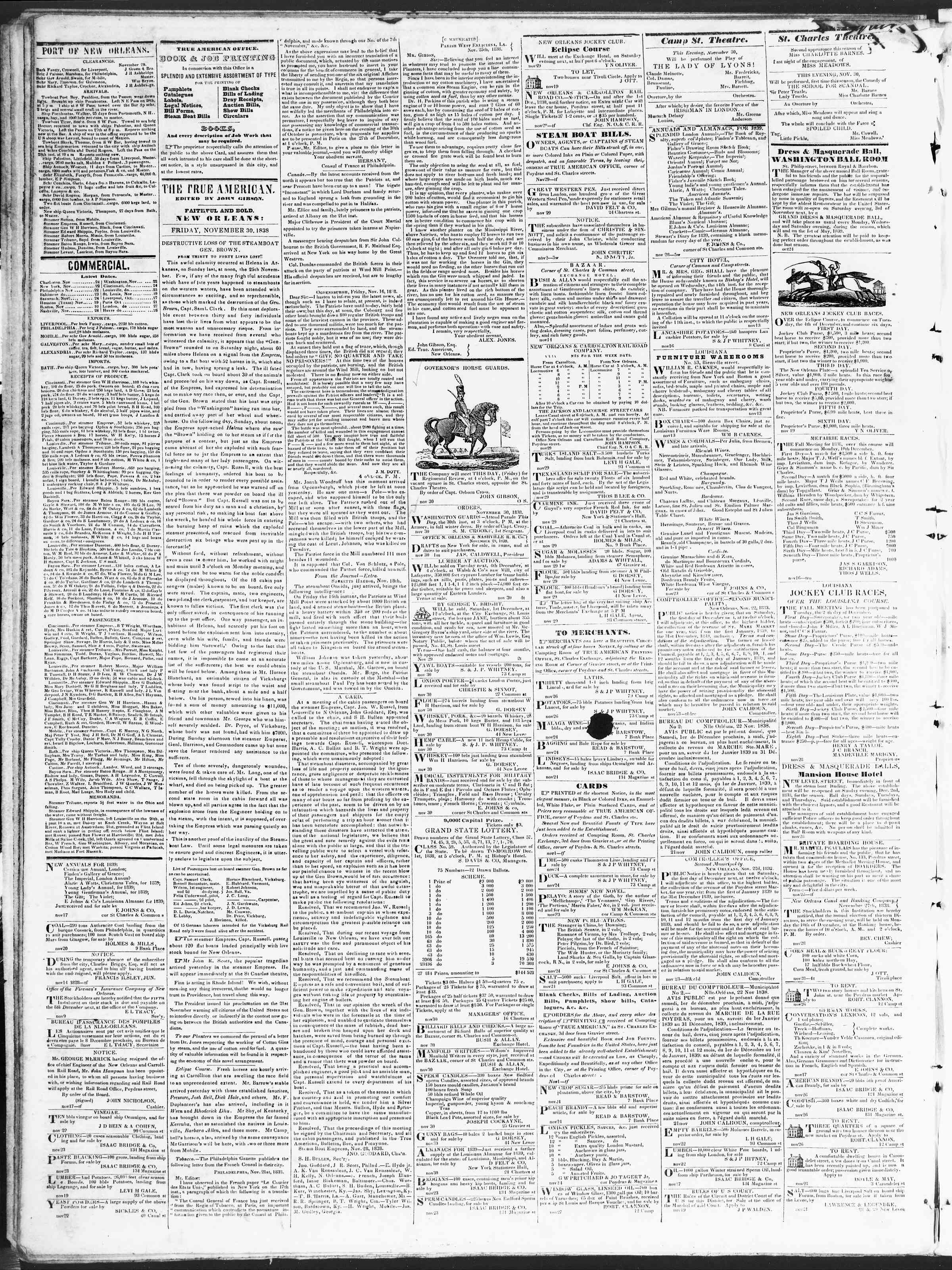 November 30, 1838 Tarihli True American Gazetesi Sayfa 2