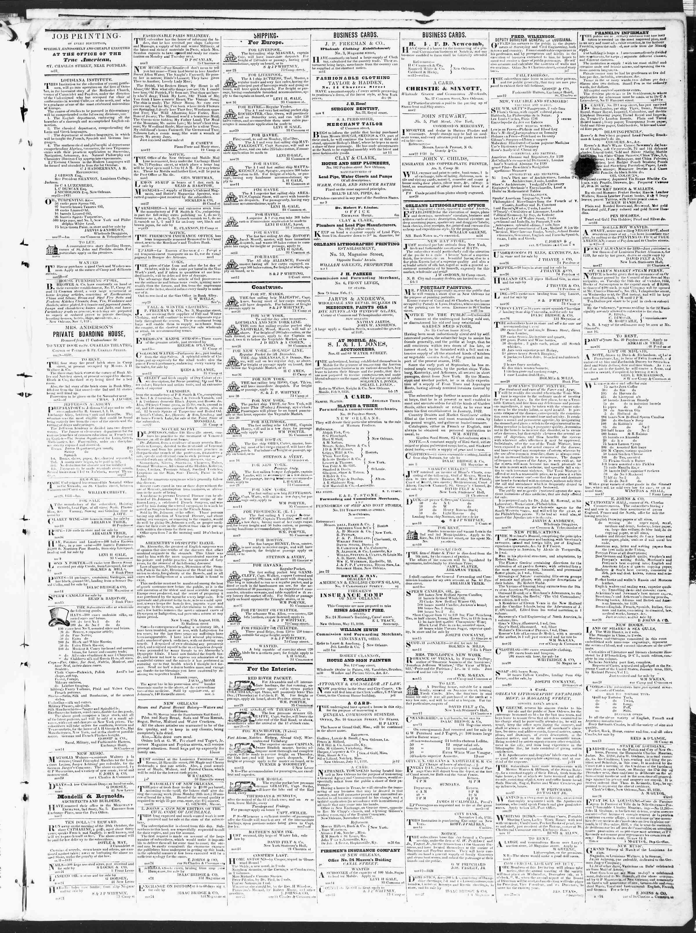 30 Kasım 1838 tarihli True American Gazetesi Sayfa 3