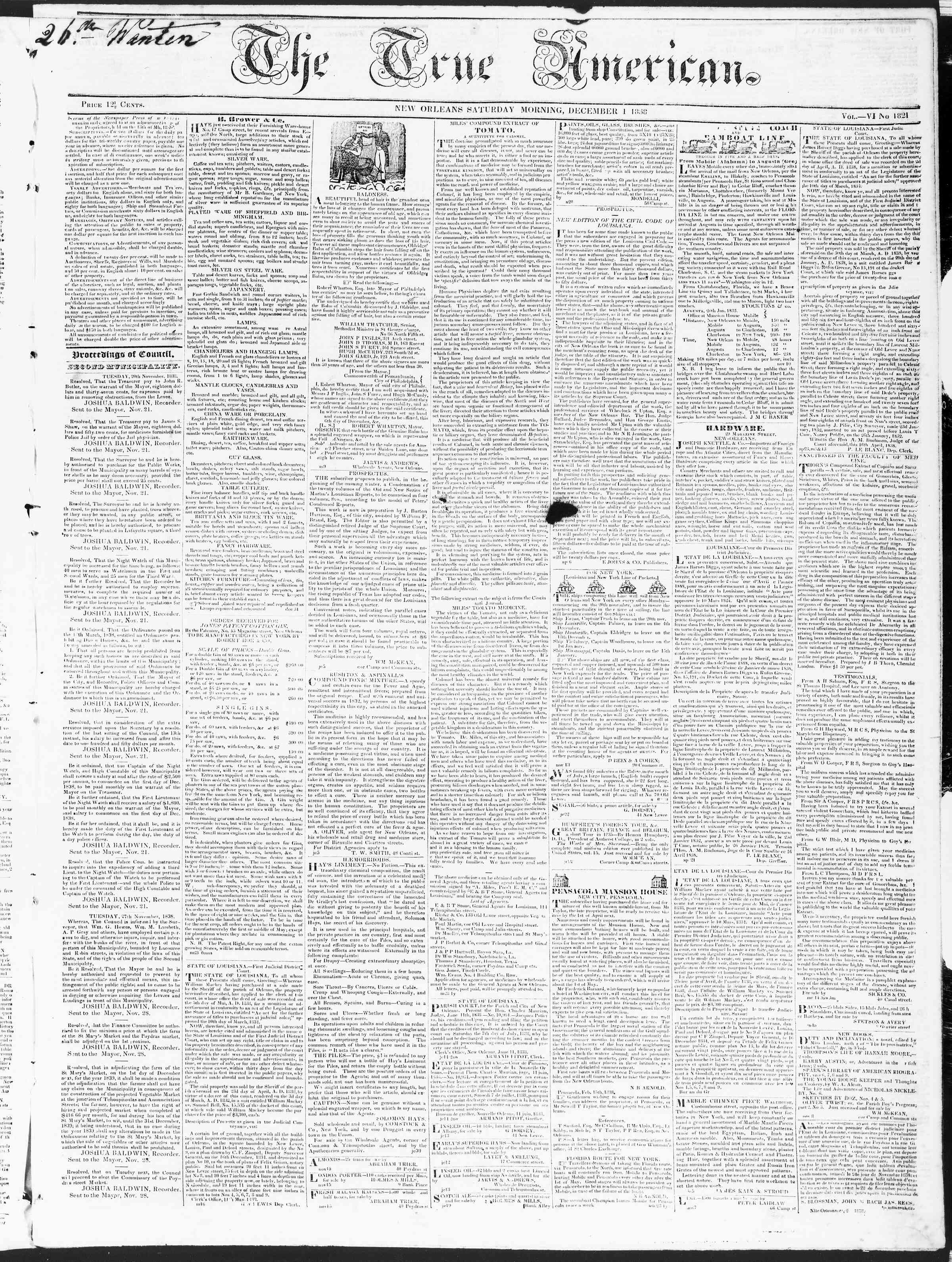 Newspaper of True American dated December 1, 1838 Page 1