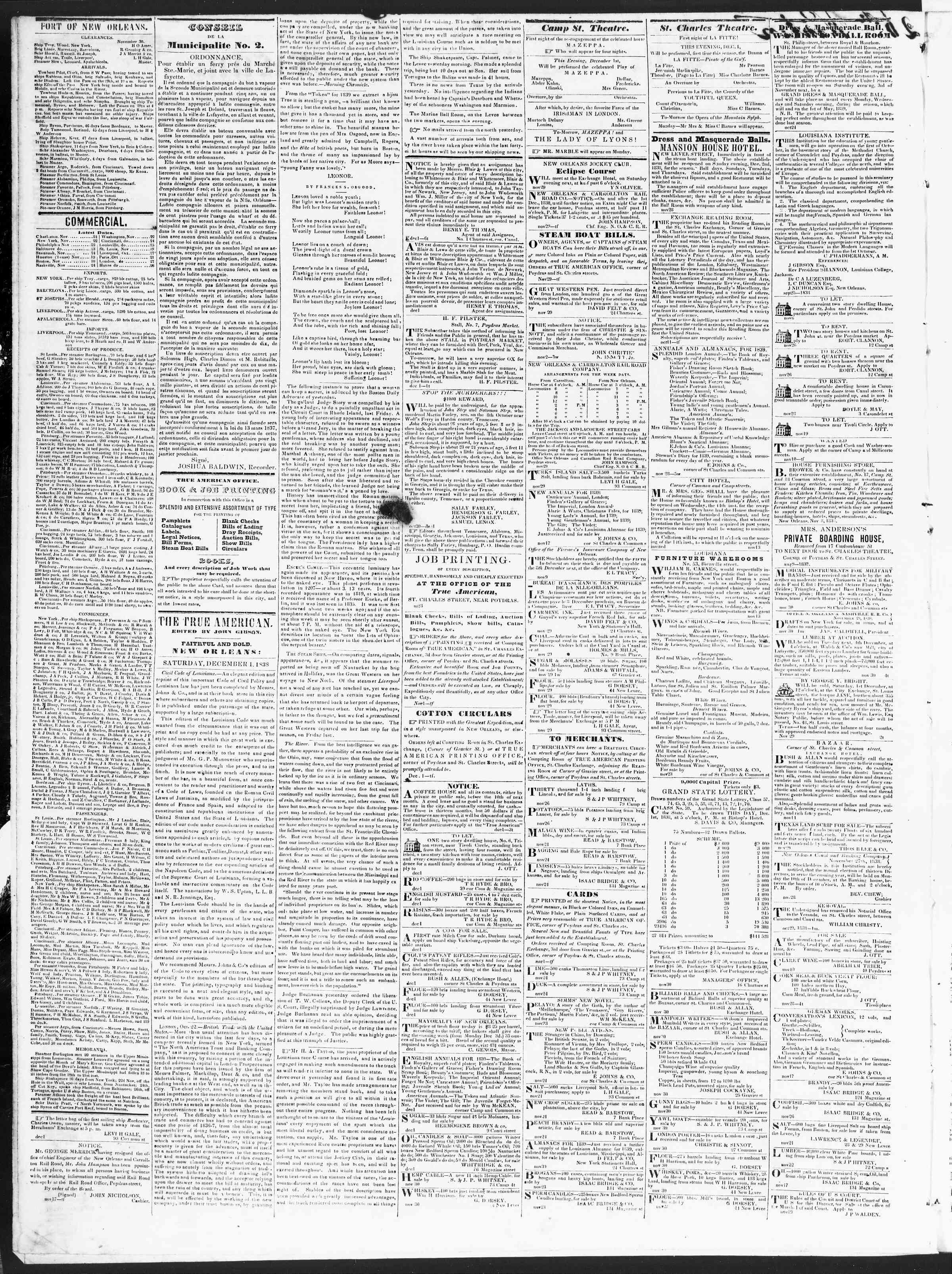 1 Aralık 1838 Tarihli True American Gazetesi Sayfa 2
