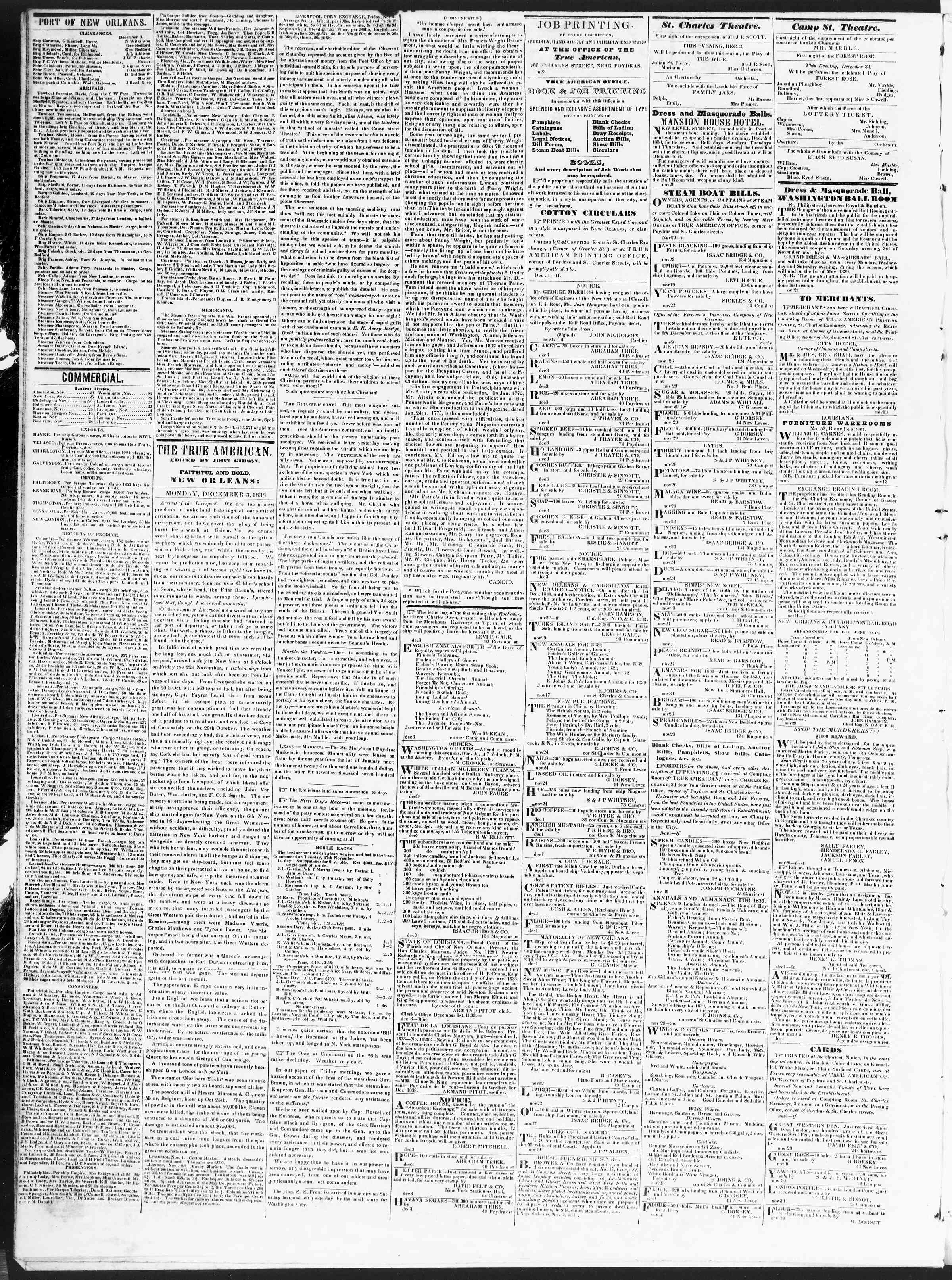 Newspaper of True American dated December 3, 1838 Page 2