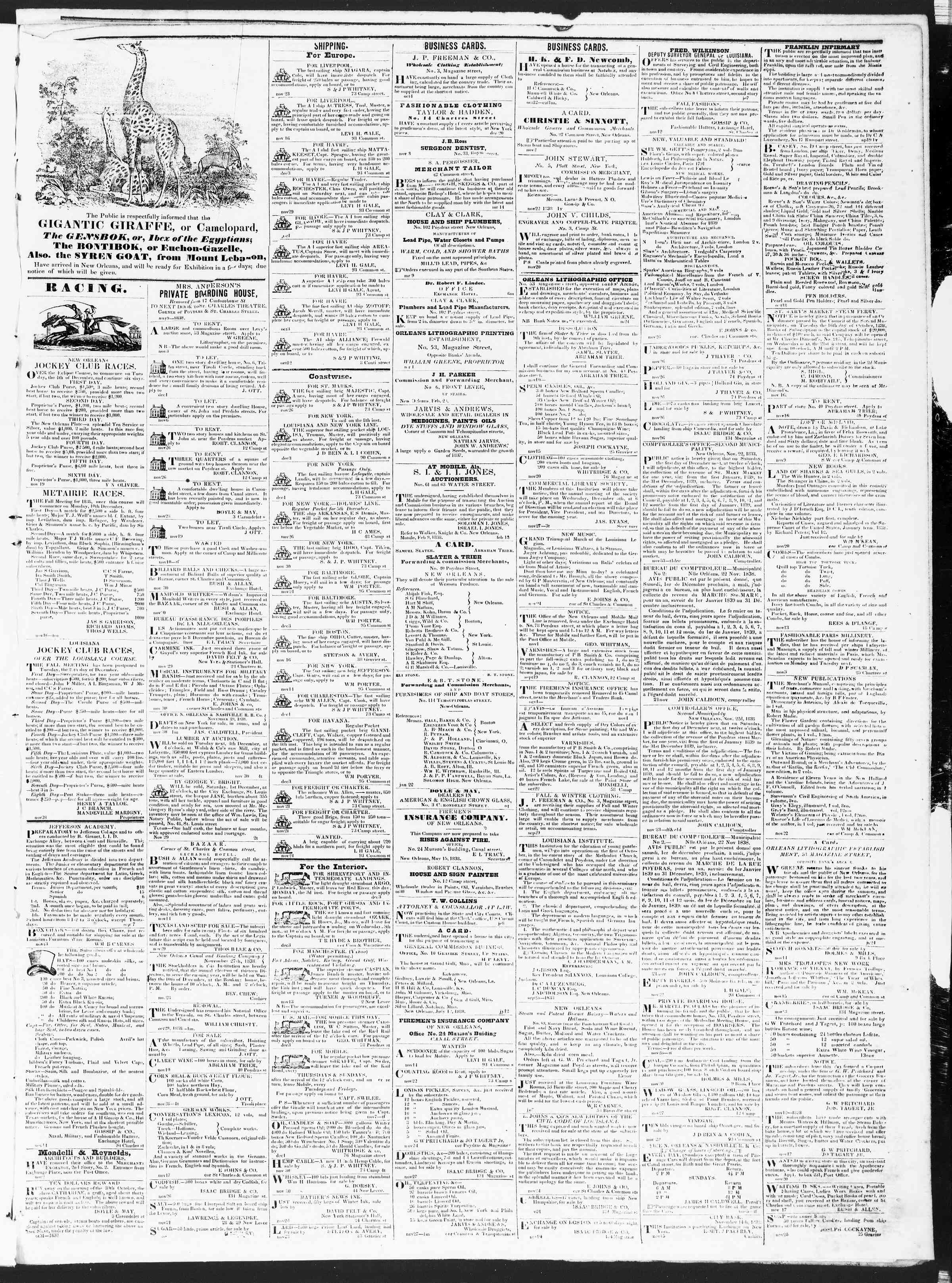 December 3, 1838 Tarihli True American Gazetesi Sayfa 3