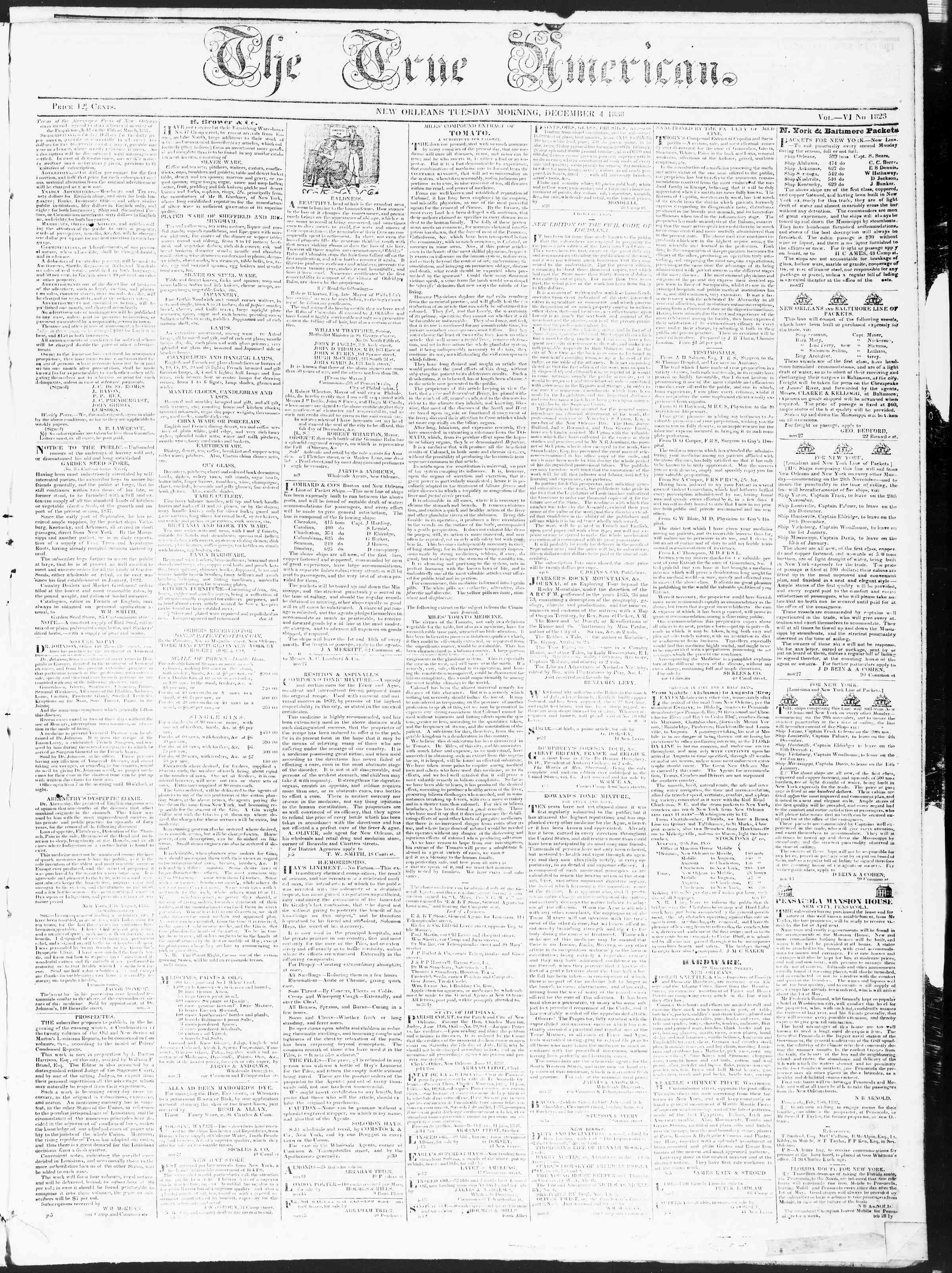 Newspaper of True American dated December 4, 1838 Page 1