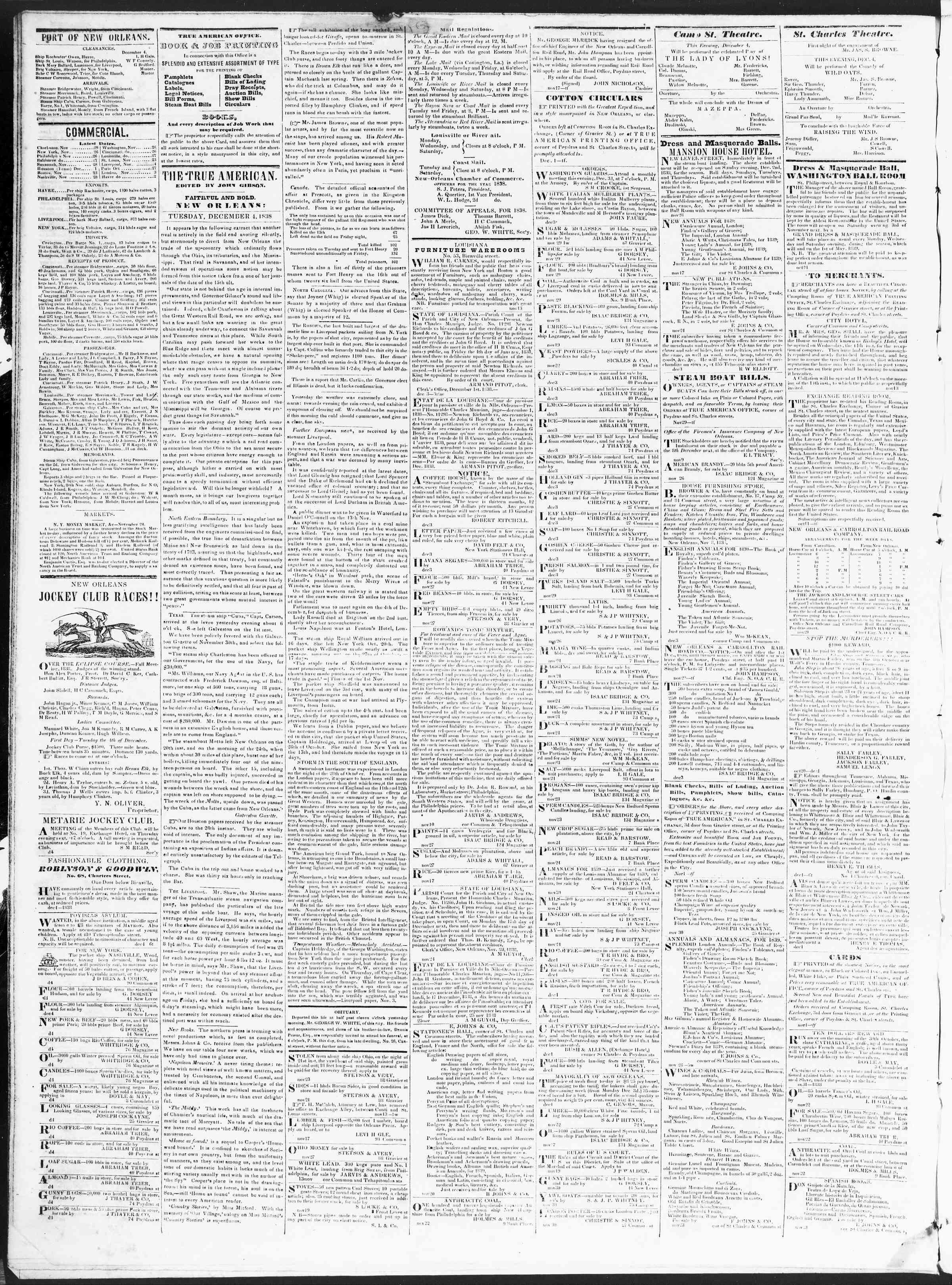 Newspaper of True American dated December 4, 1838 Page 2