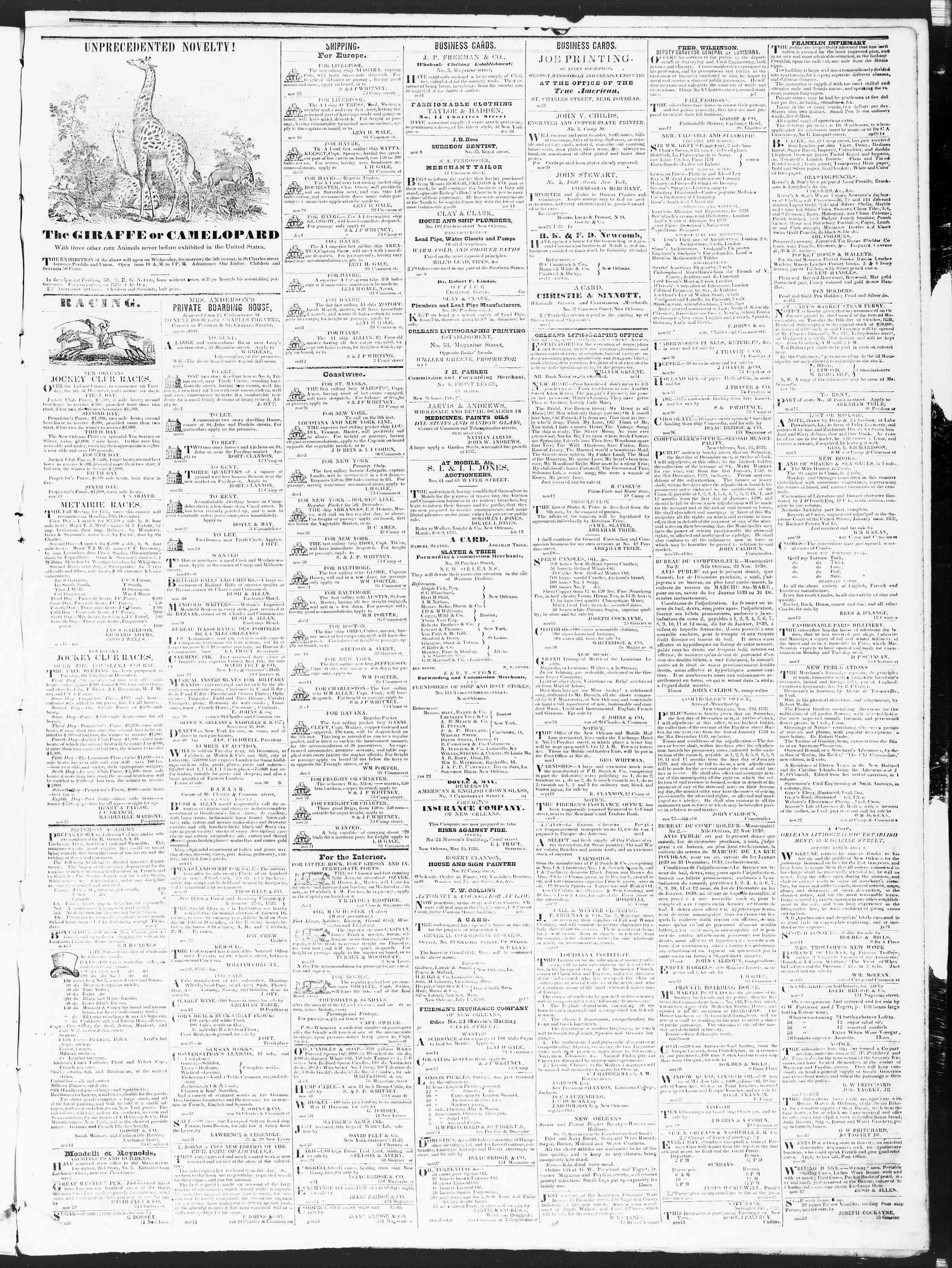 December 4, 1838 Tarihli True American Gazetesi Sayfa 3