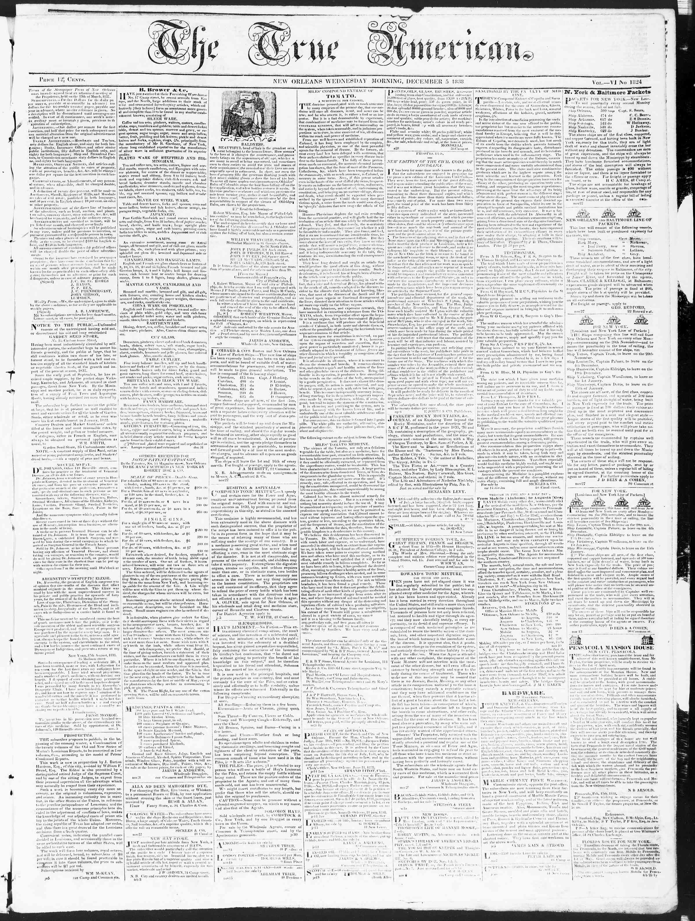 Newspaper of True American dated December 5, 1838 Page 1