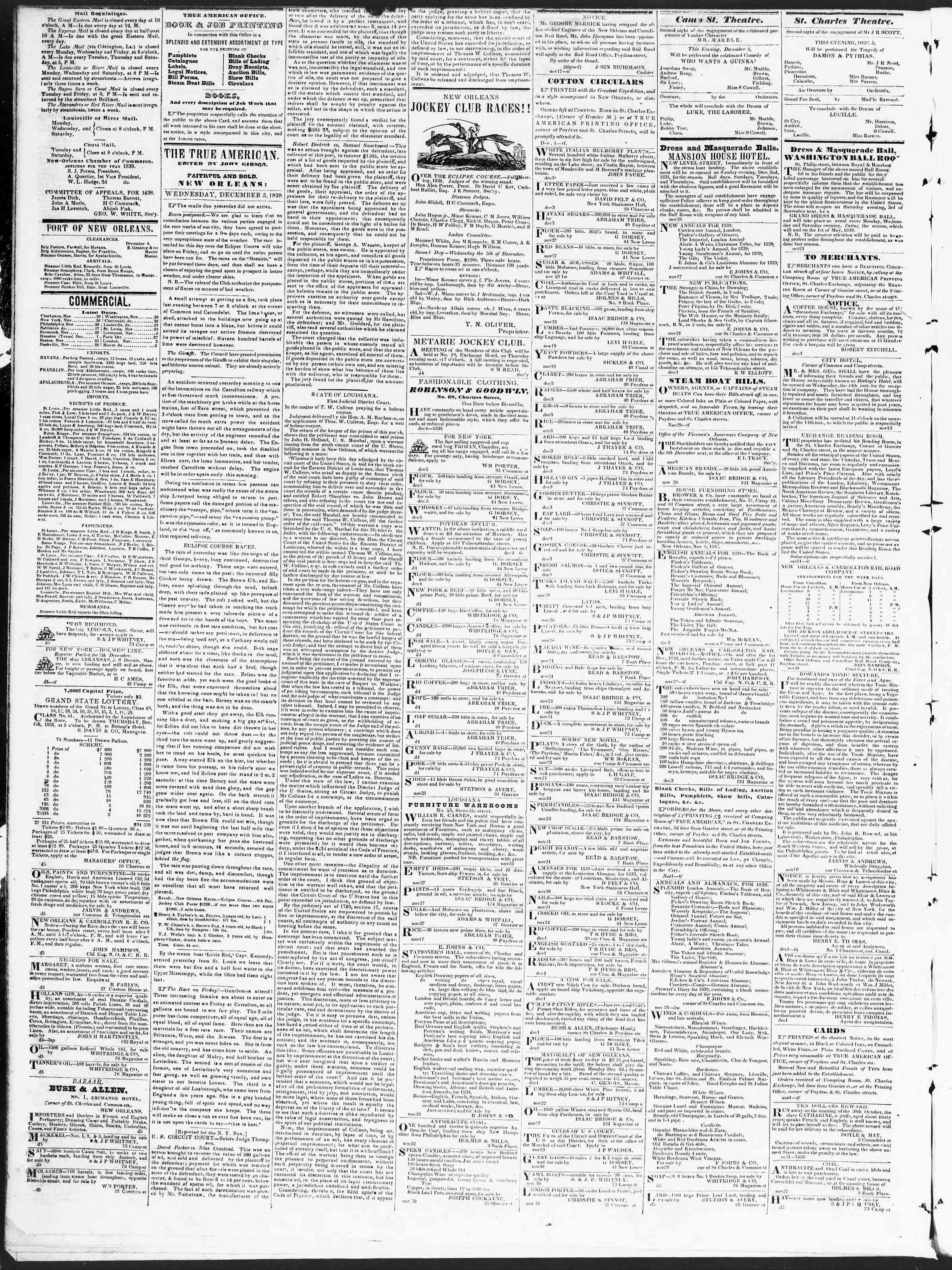 December 5, 1838 Tarihli True American Gazetesi Sayfa 2