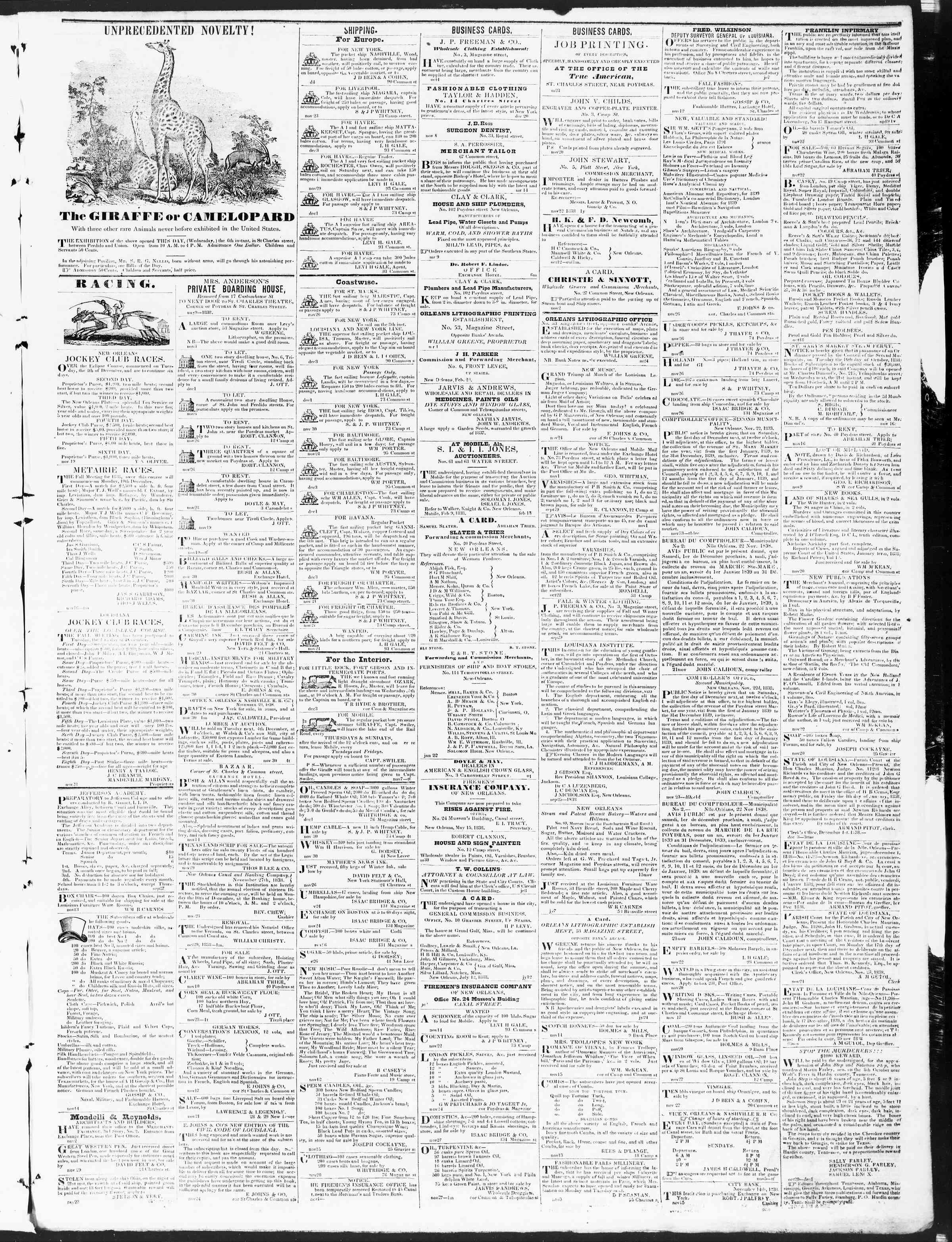 December 5, 1838 Tarihli True American Gazetesi Sayfa 3