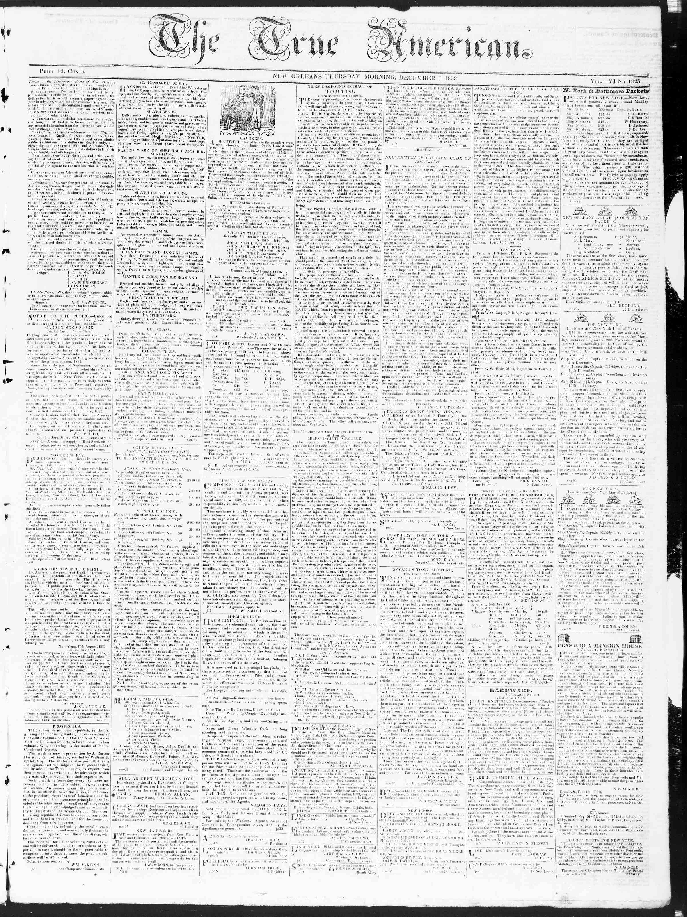 Newspaper of True American dated December 6, 1838 Page 1
