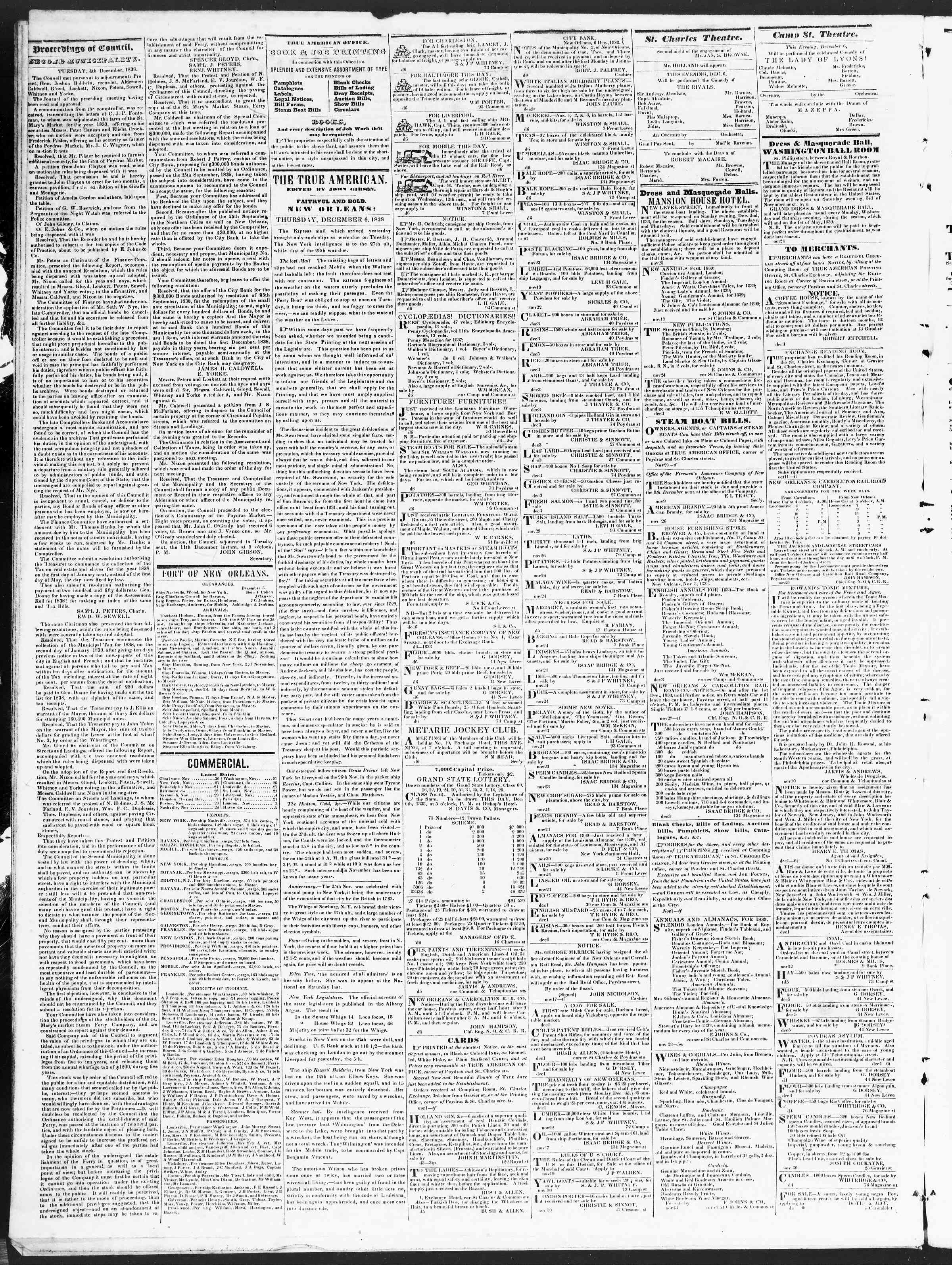 Newspaper of True American dated December 6, 1838 Page 2