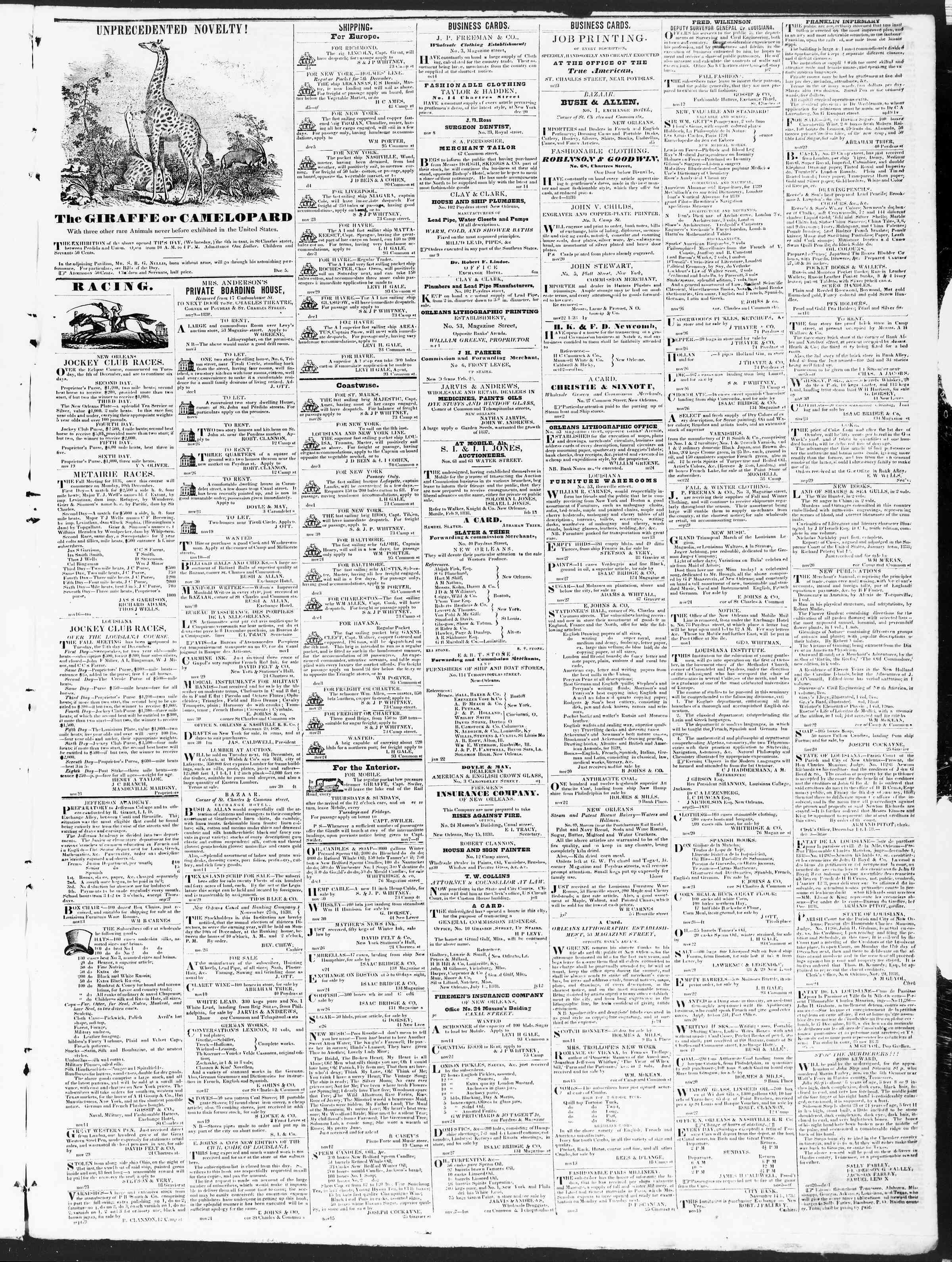 December 6, 1838 Tarihli True American Gazetesi Sayfa 3