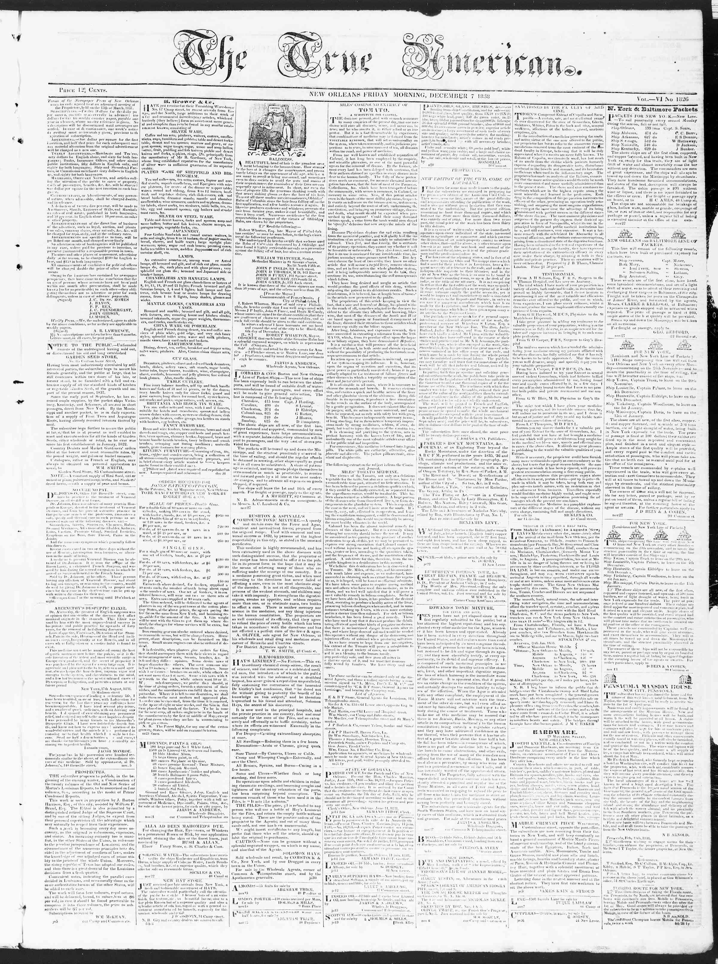 Newspaper of True American dated December 7, 1838 Page 1