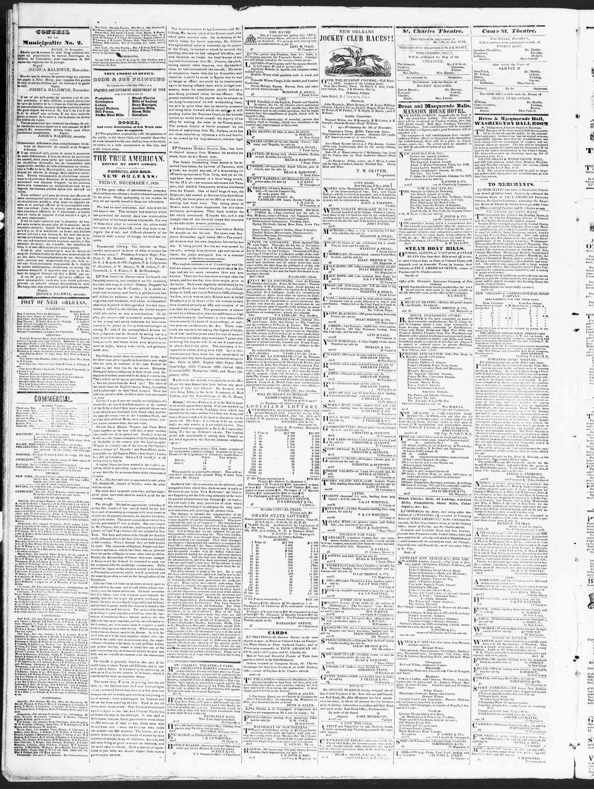 Newspaper of True American dated December 7, 1838 Page 2