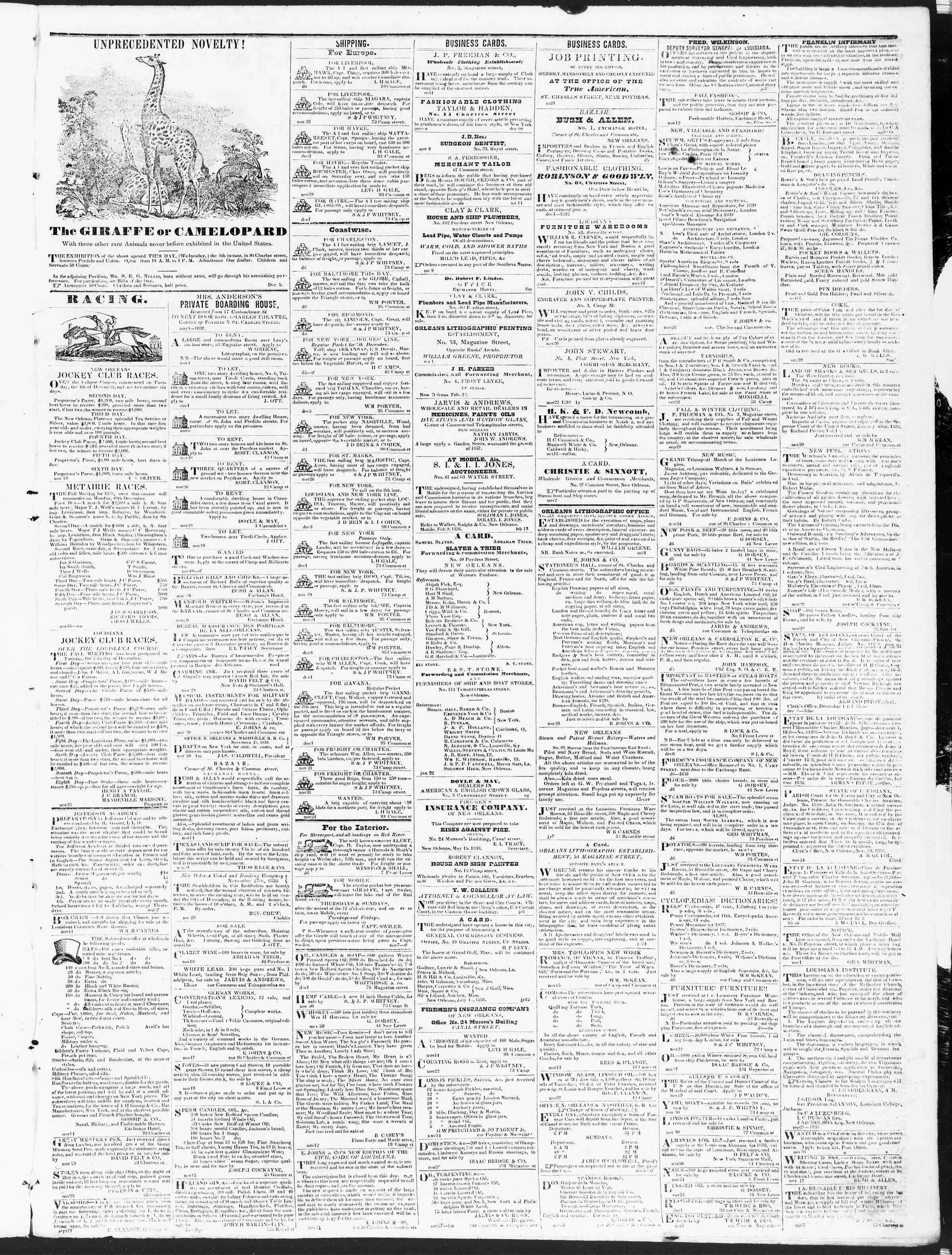 December 7, 1838 Tarihli True American Gazetesi Sayfa 3