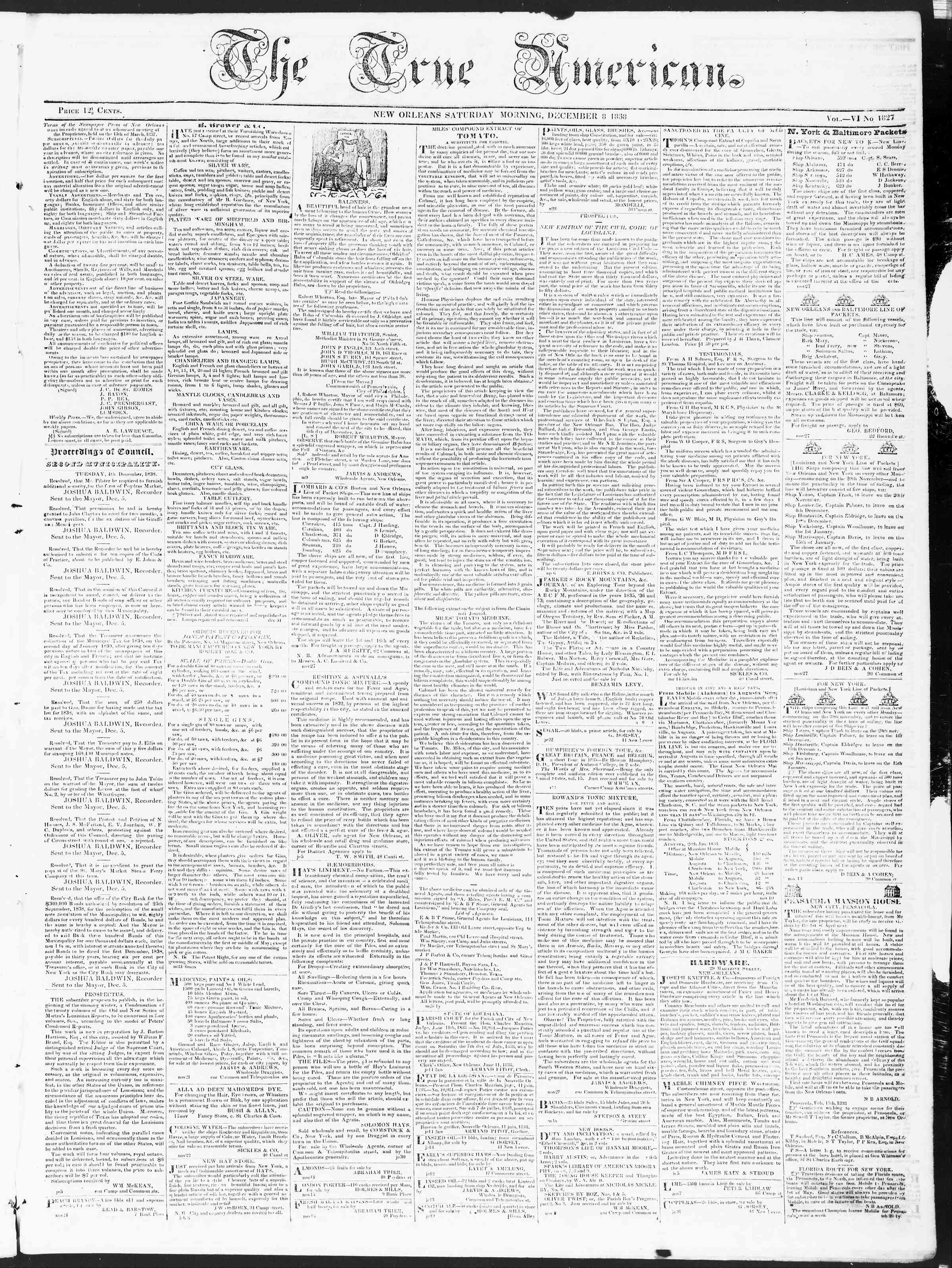 Newspaper of True American dated December 8, 1838 Page 1