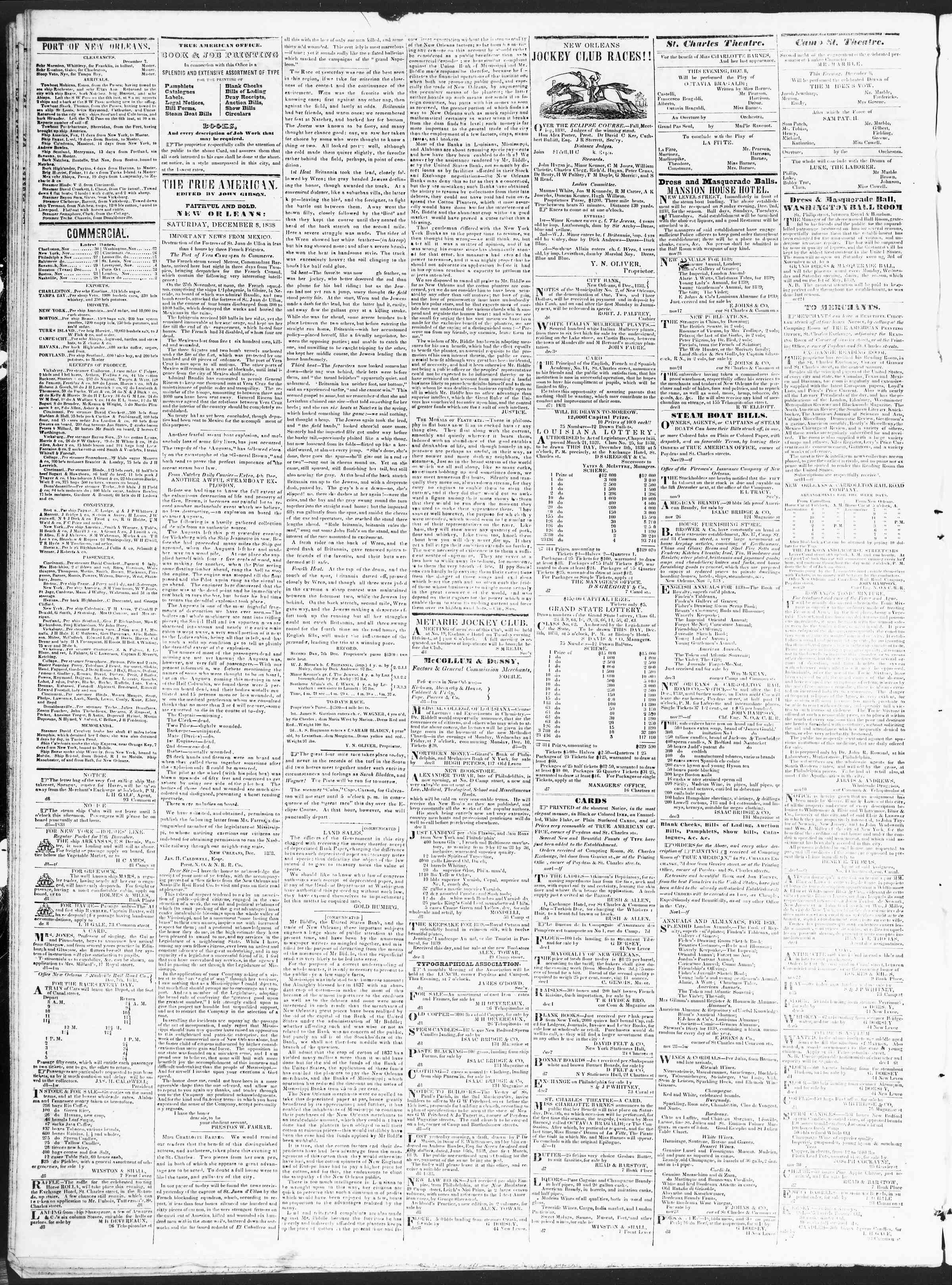 December 8, 1838 Tarihli True American Gazetesi Sayfa 2