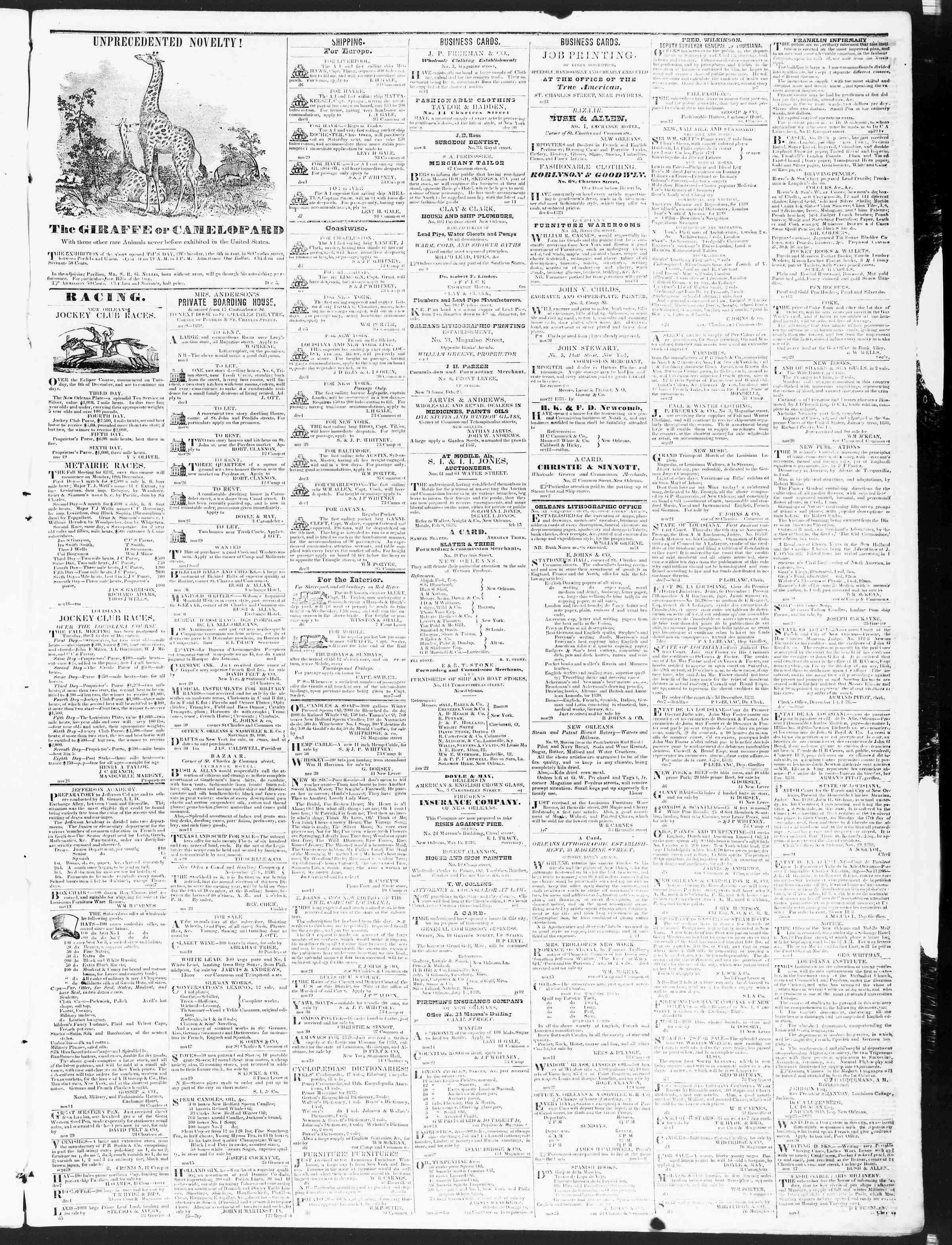 Newspaper of True American dated December 8, 1838 Page 3