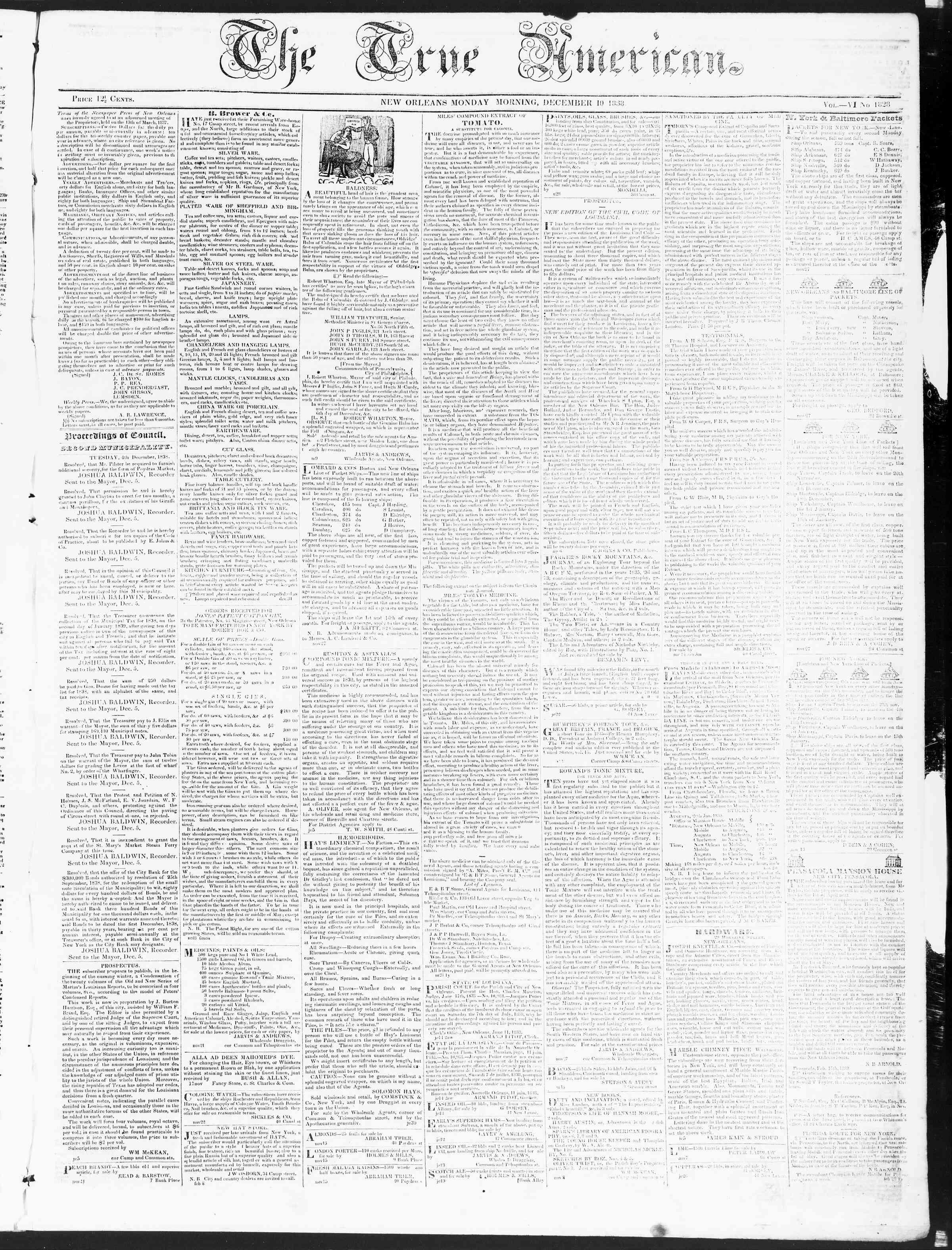 December 10, 1838 Tarihli True American Gazetesi Sayfa 1