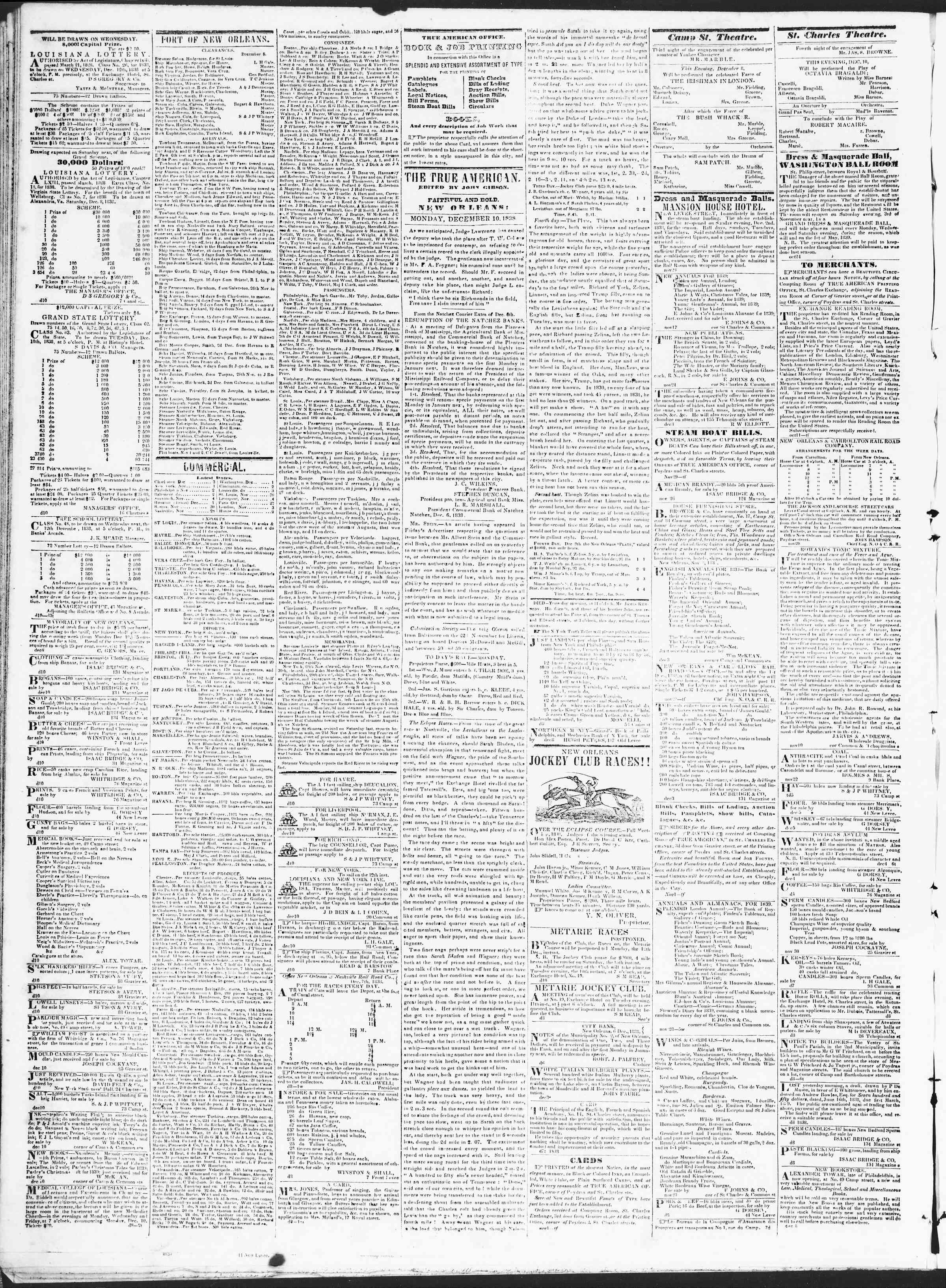 December 10, 1838 Tarihli True American Gazetesi Sayfa 2