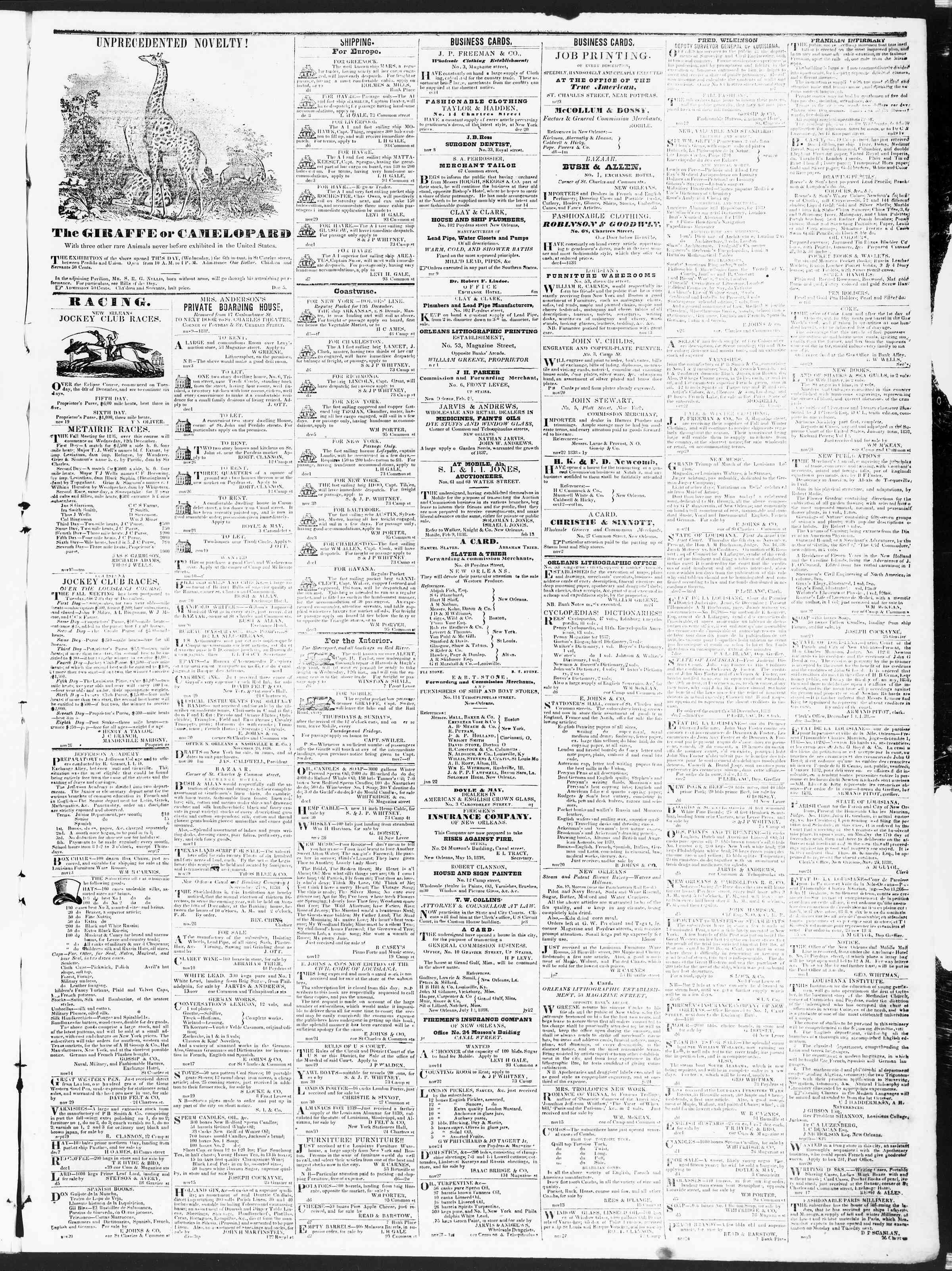 December 10, 1838 Tarihli True American Gazetesi Sayfa 3