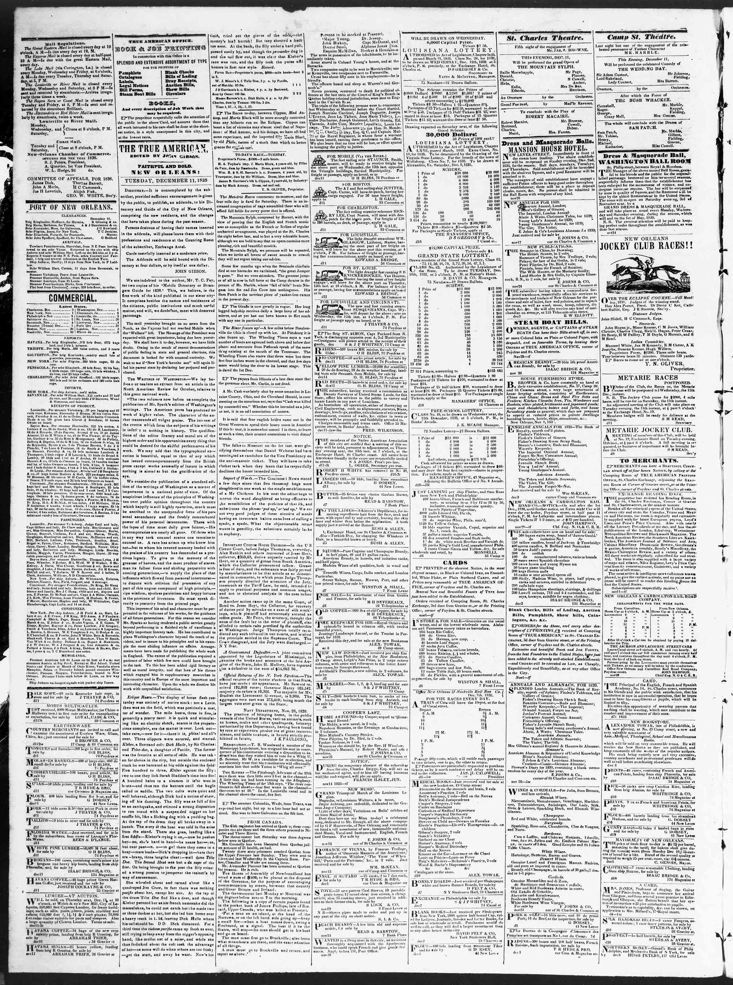 Newspaper of True American dated December 11, 1838 Page 2