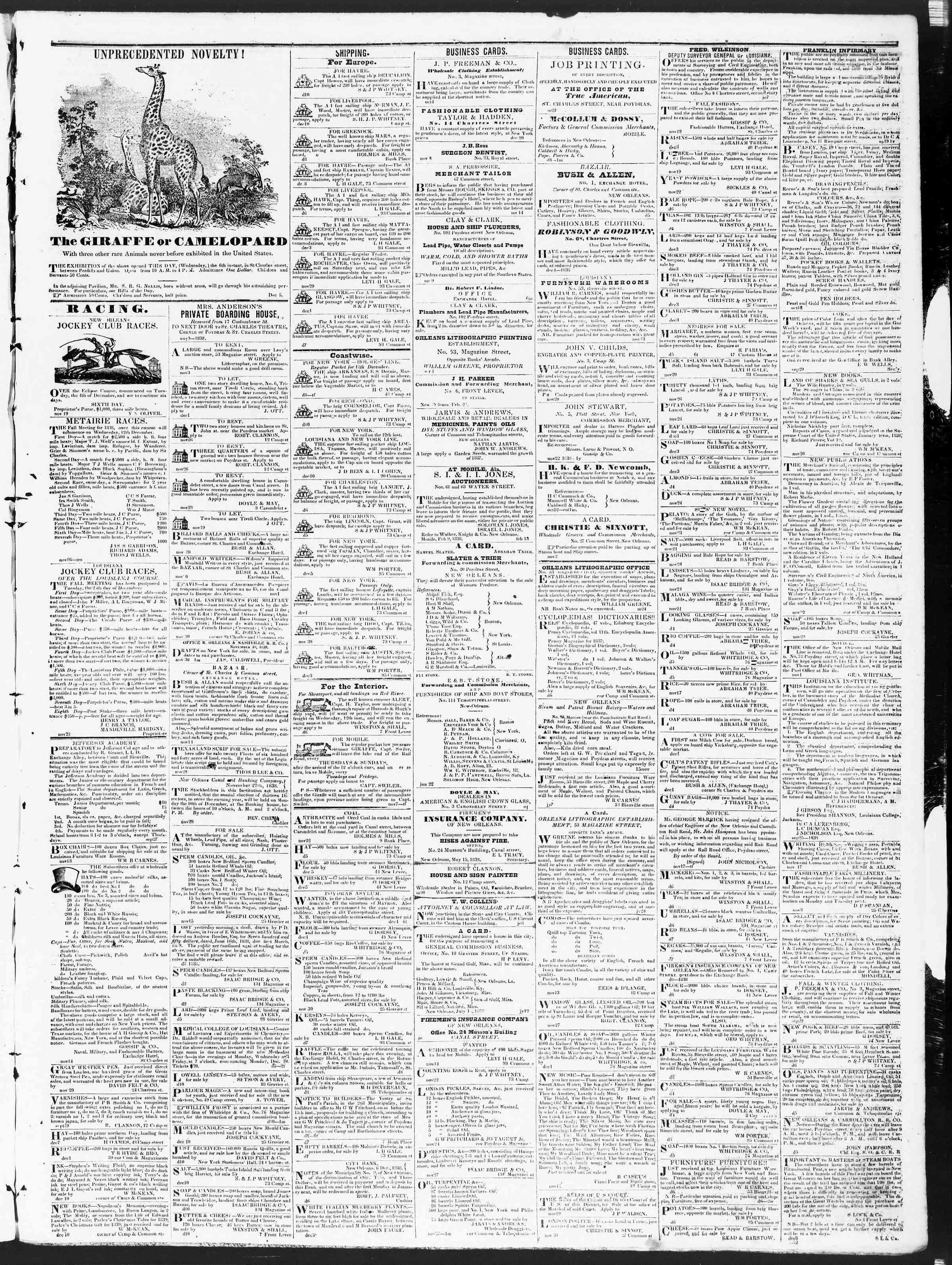 December 11, 1838 Tarihli True American Gazetesi Sayfa 3