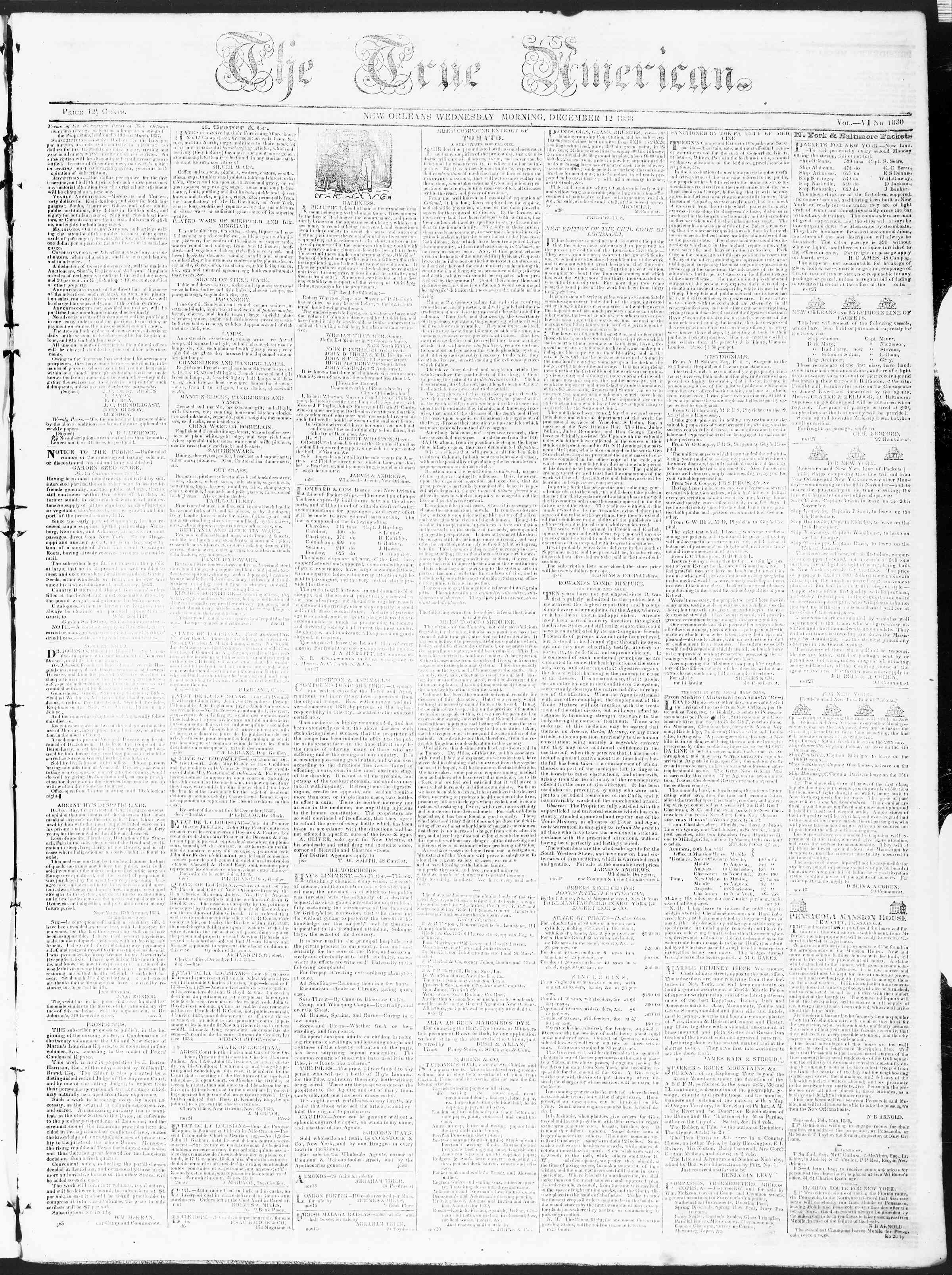Newspaper of True American dated December 12, 1838 Page 1