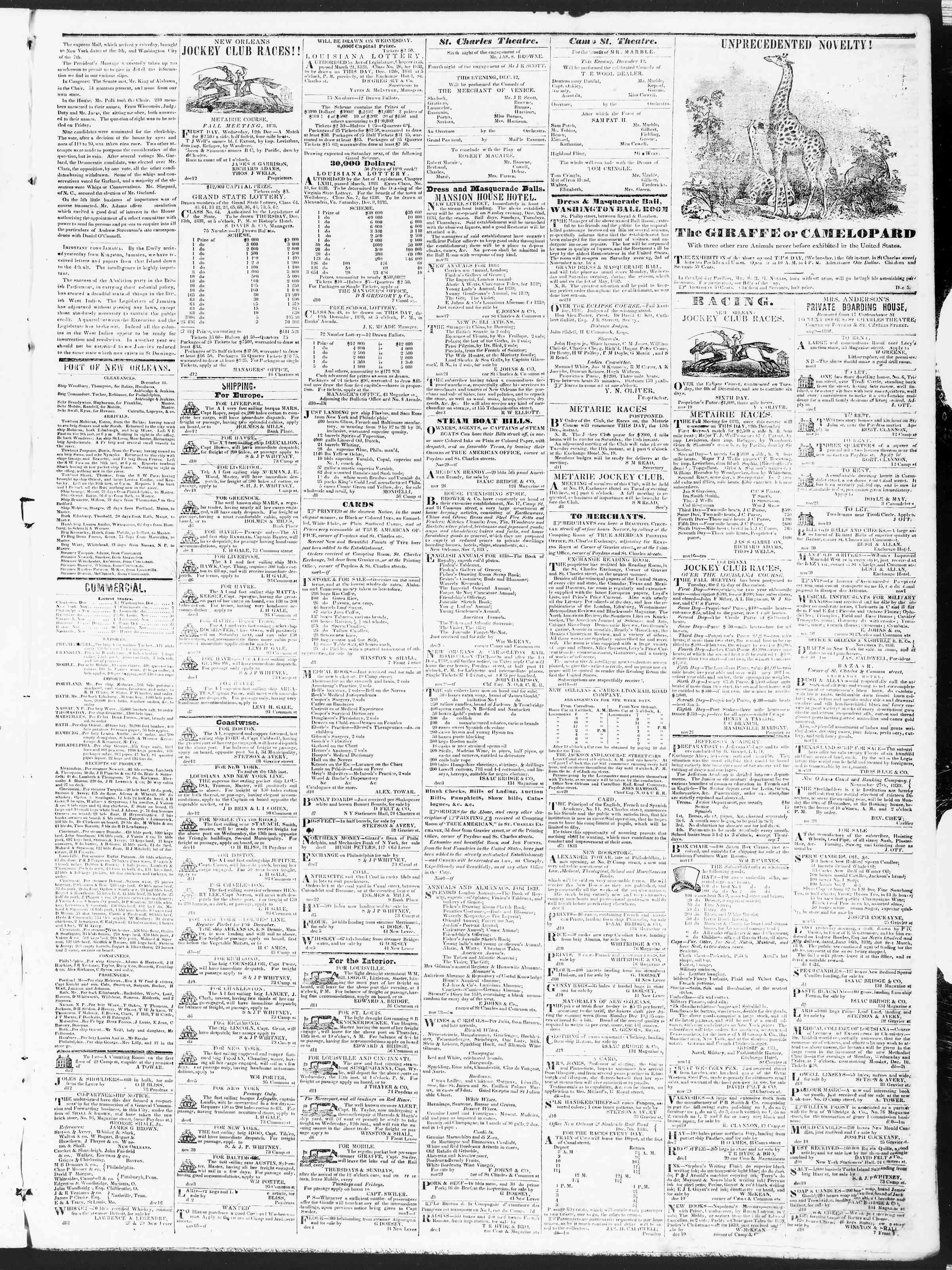December 12, 1838 Tarihli True American Gazetesi Sayfa 3
