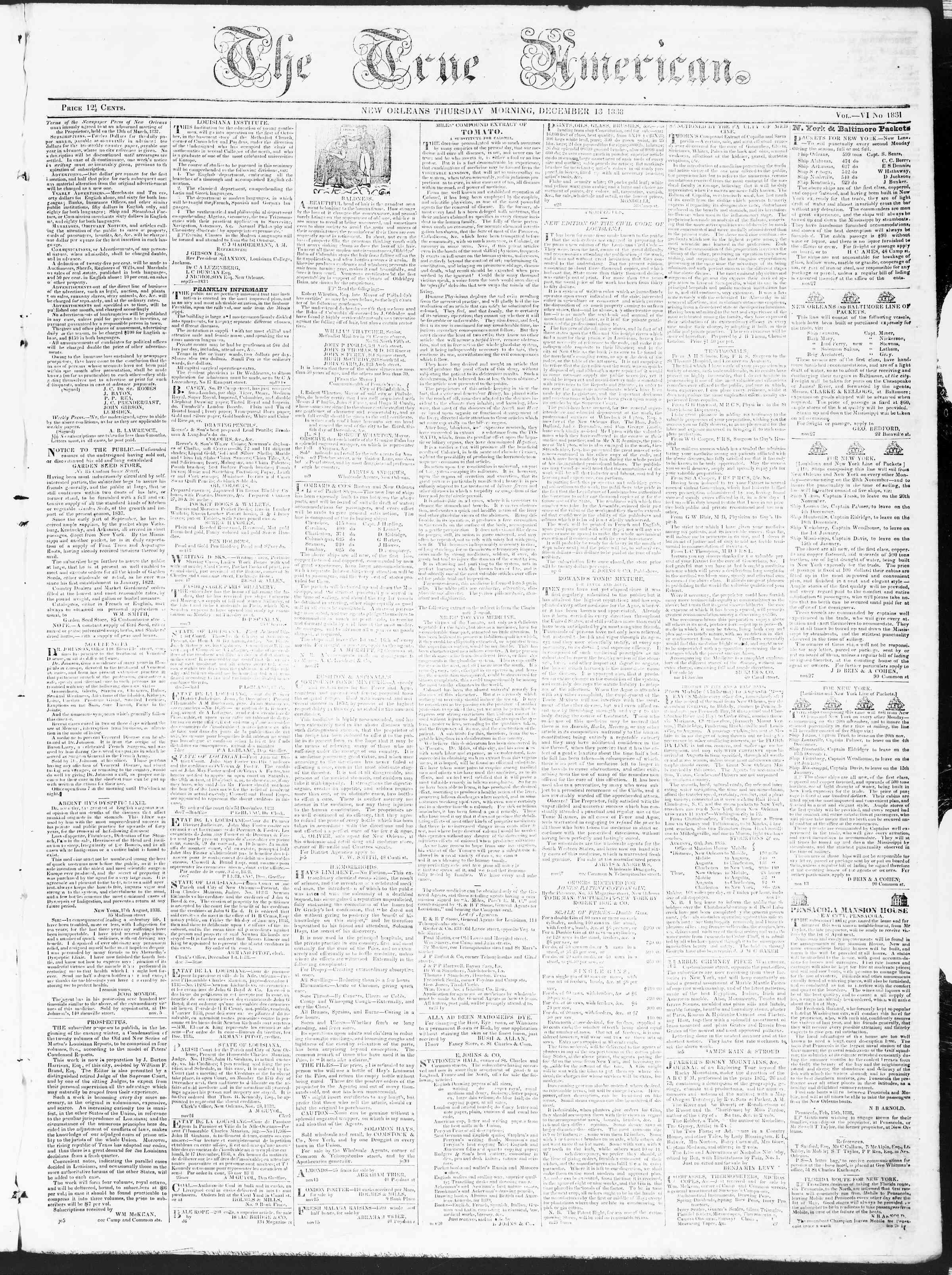 December 13, 1838 Tarihli True American Gazetesi Sayfa 1