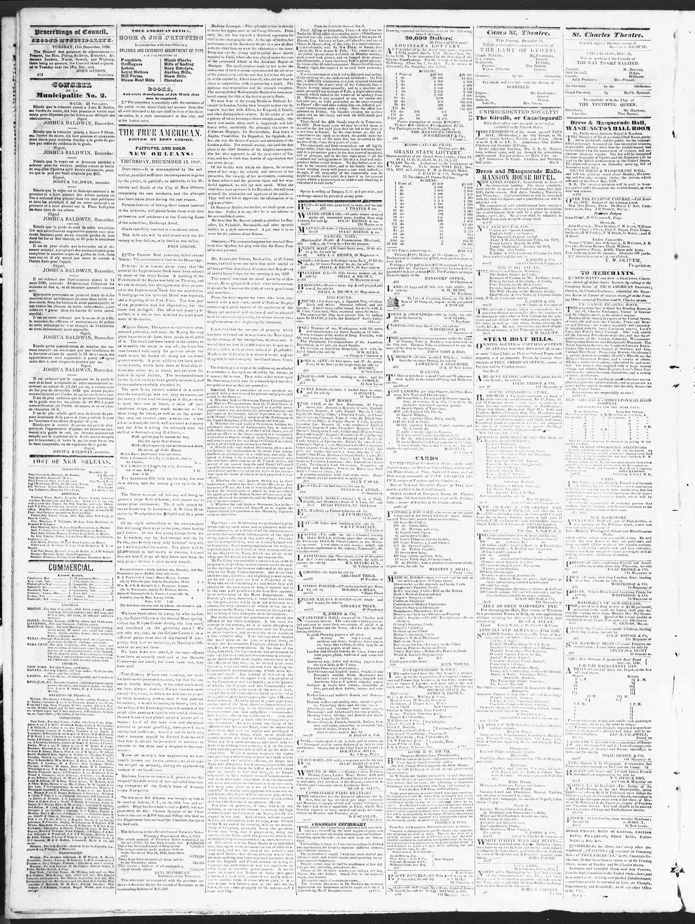 Newspaper of True American dated December 13, 1838 Page 2