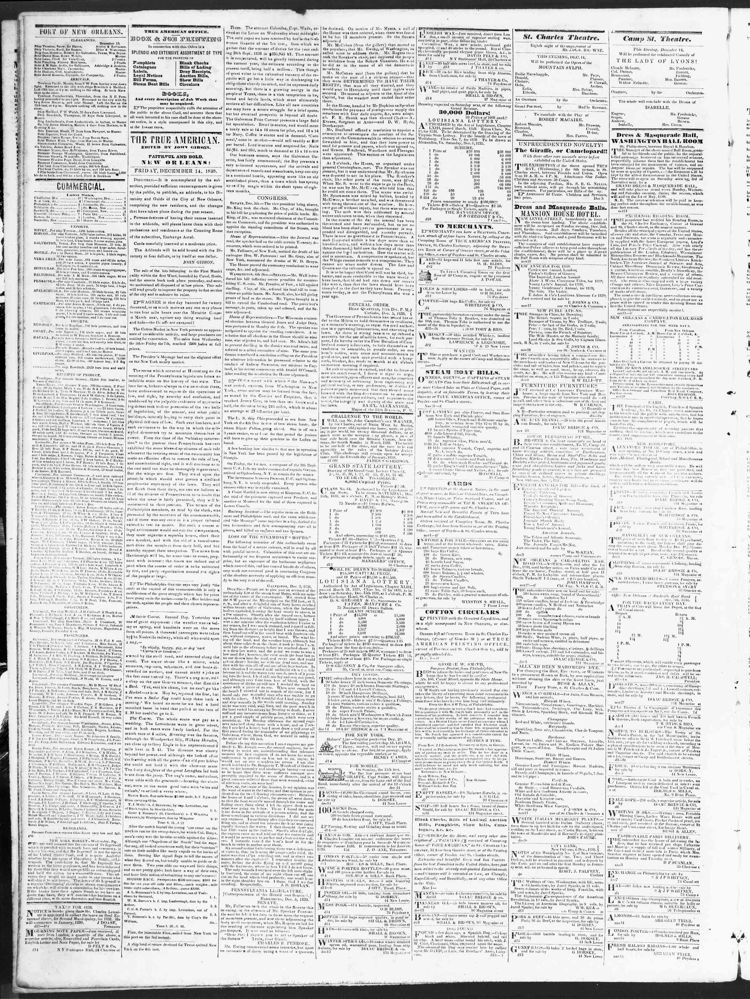 December 14, 1838 Tarihli True American Gazetesi Sayfa 2