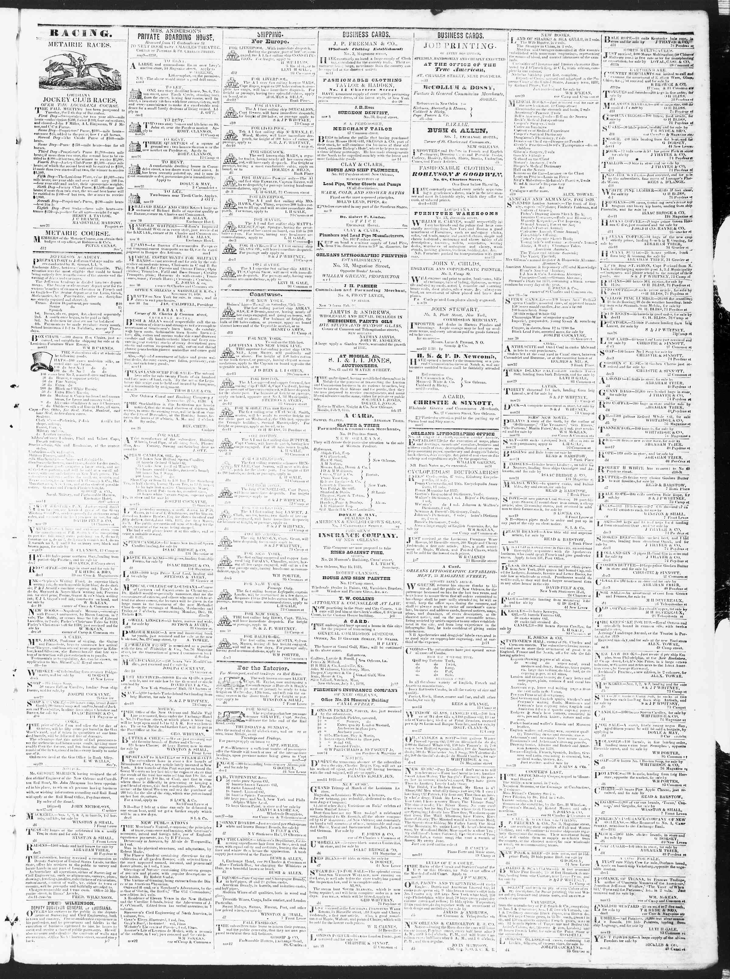 December 14, 1838 Tarihli True American Gazetesi Sayfa 3