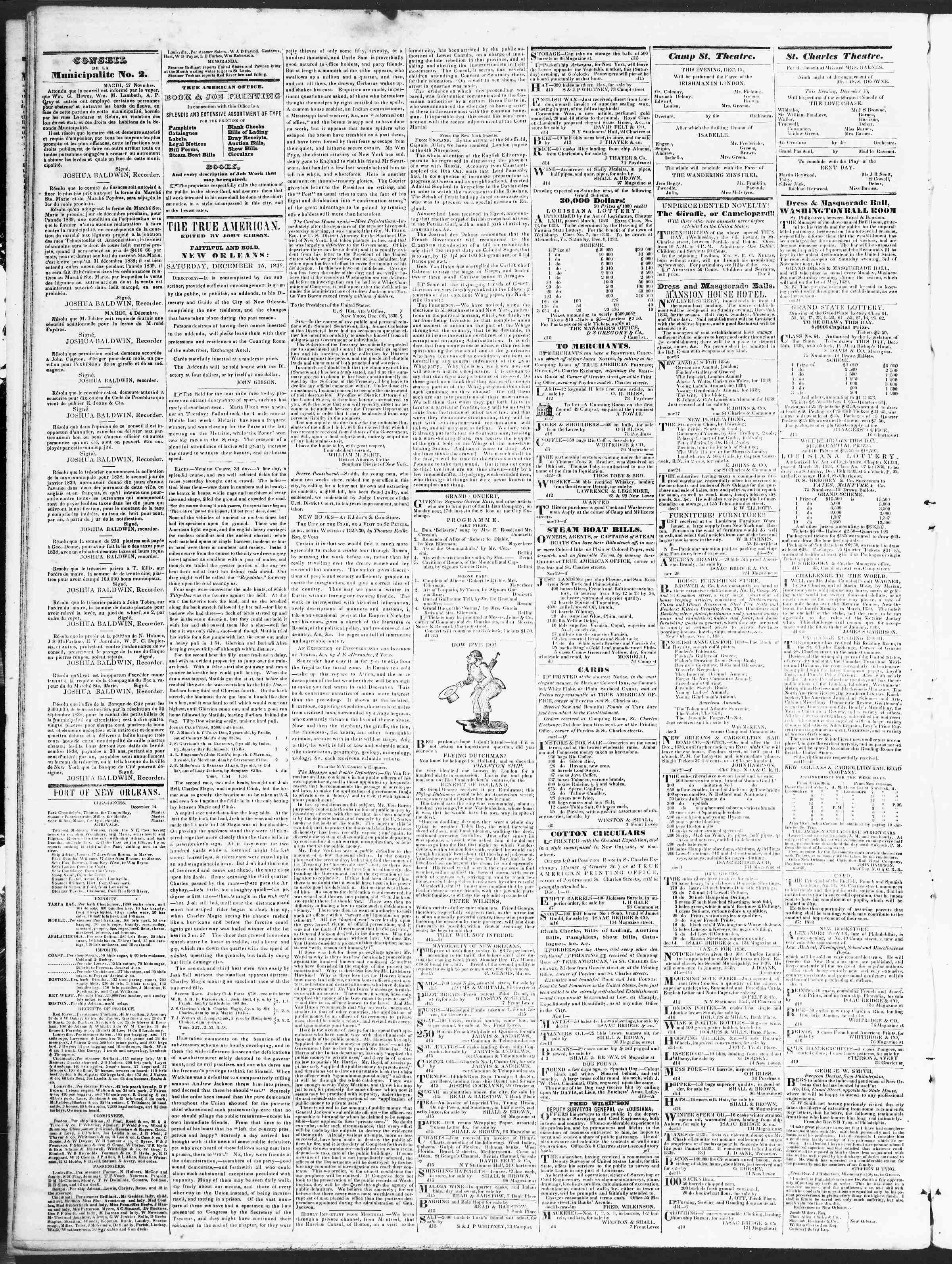 December 15, 1838 Tarihli True American Gazetesi Sayfa 2