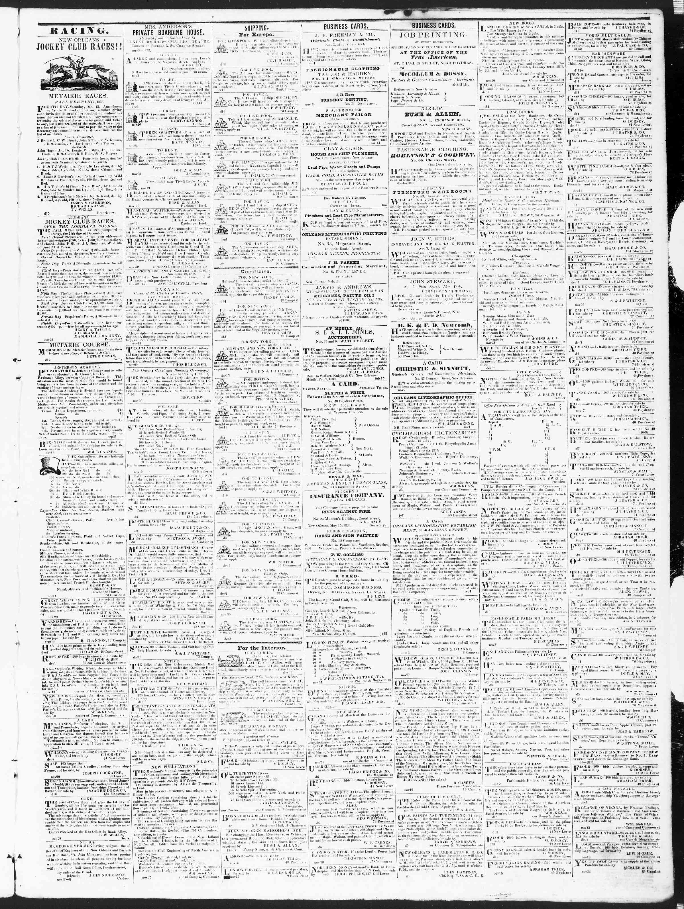 Newspaper of True American dated December 15, 1838 Page 3