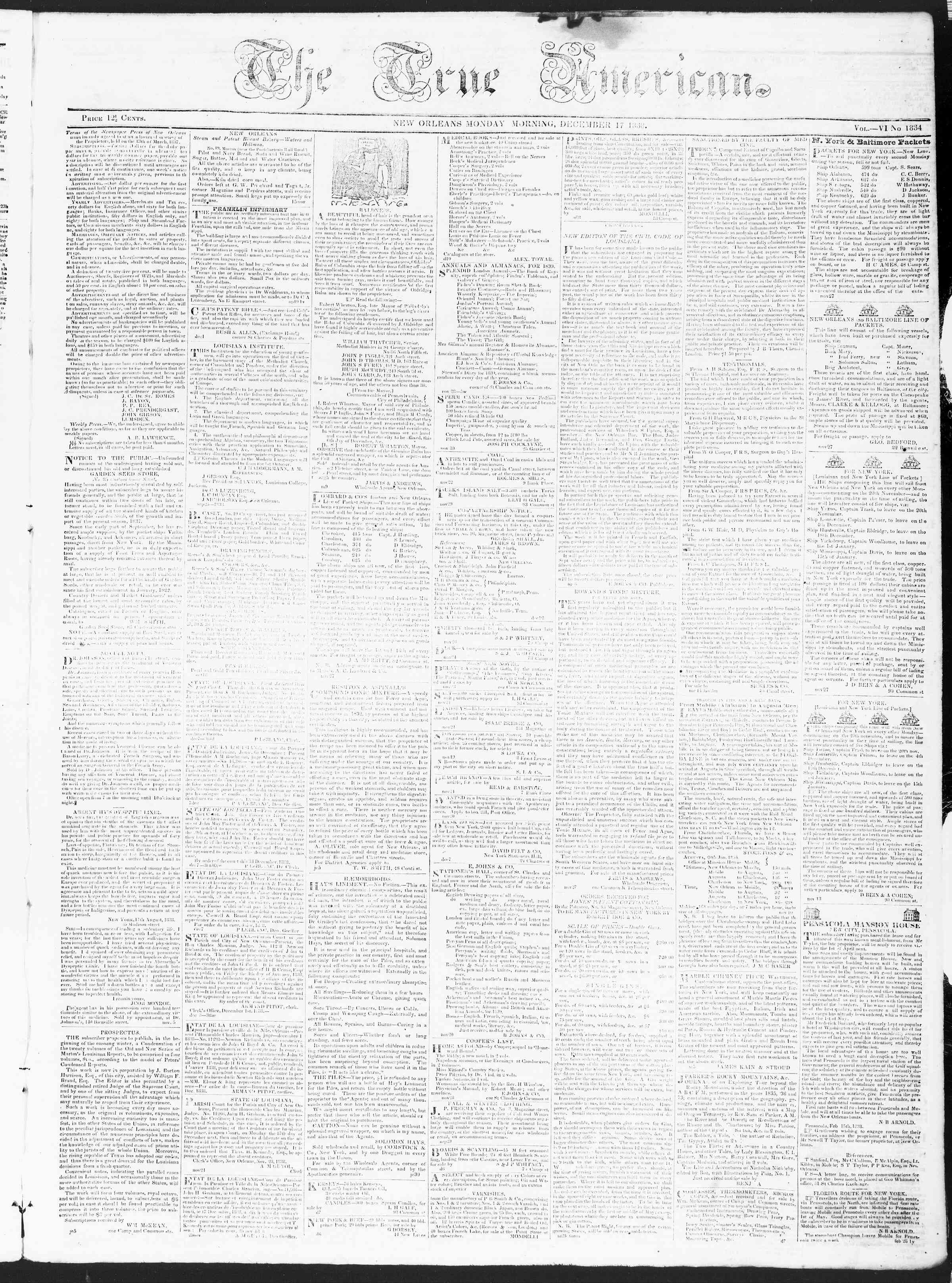 Newspaper of True American dated December 17, 1838 Page 1