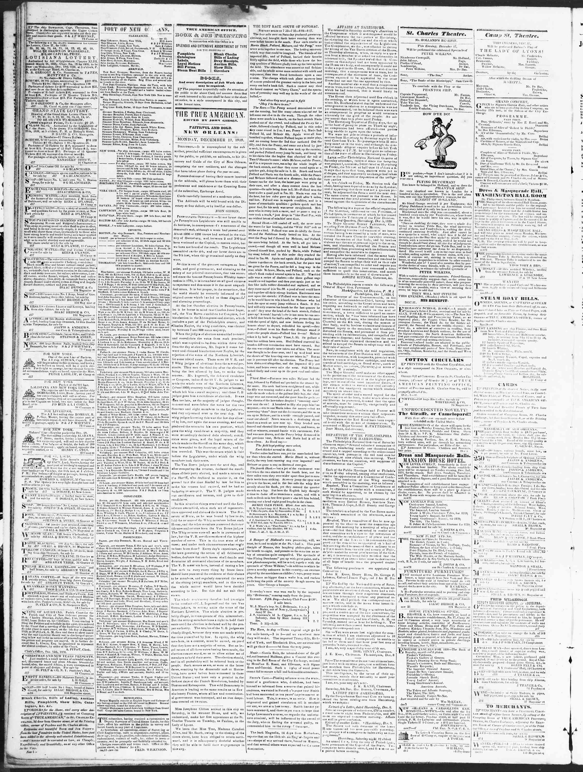 Newspaper of True American dated December 17, 1838 Page 2