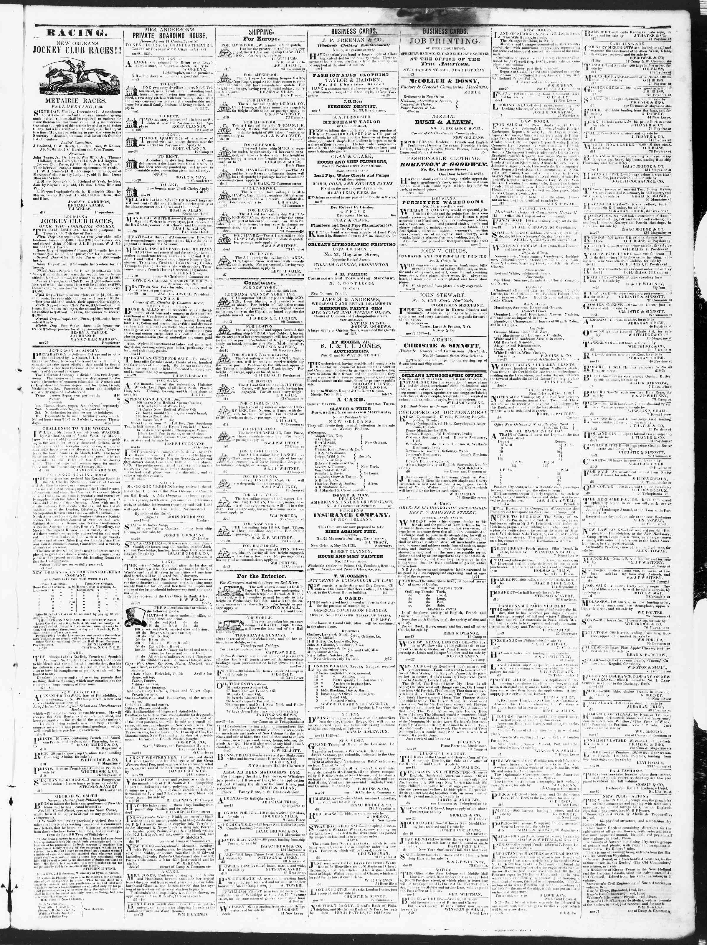 Newspaper of True American dated December 17, 1838 Page 3