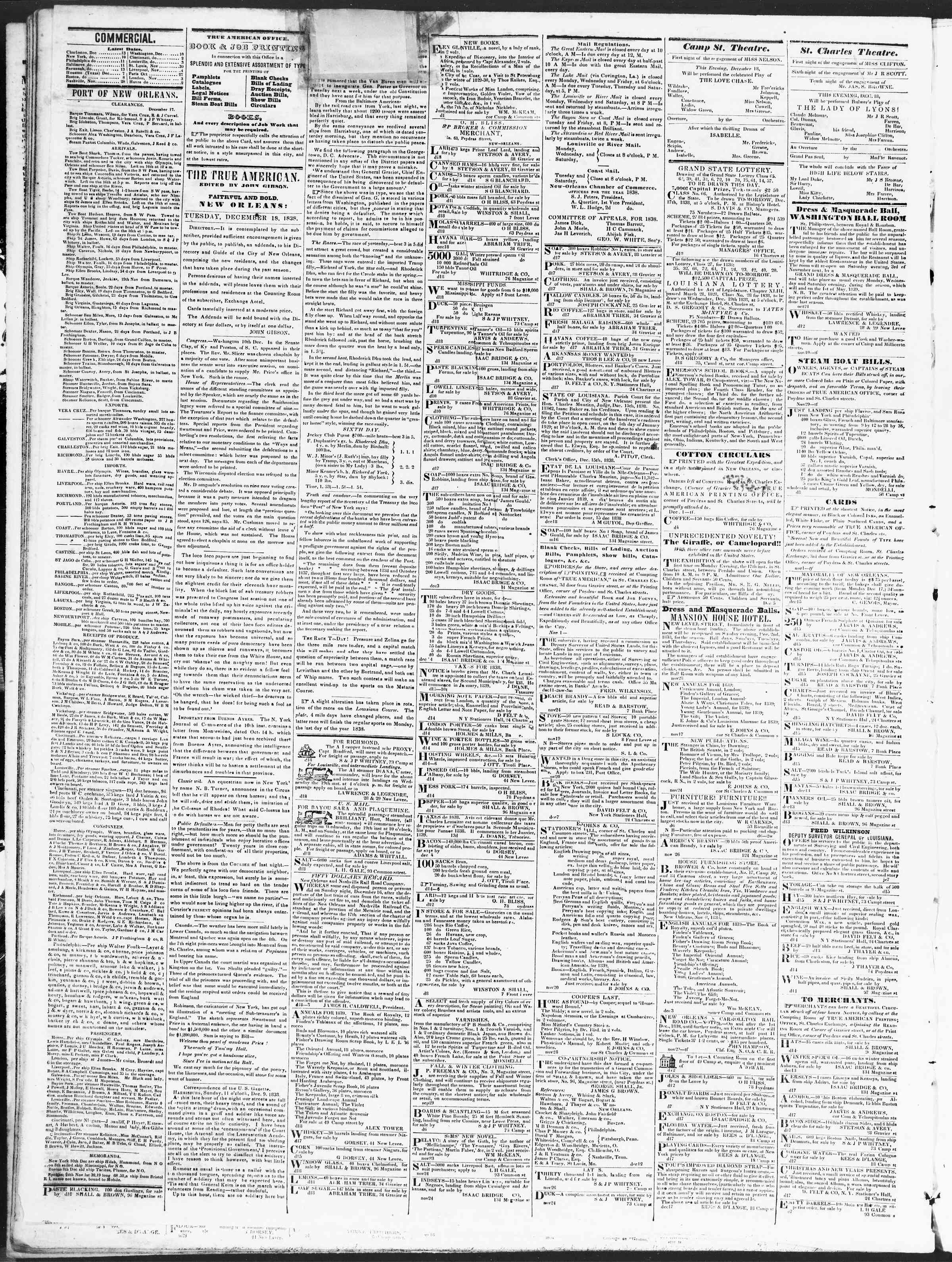 December 18, 1838 Tarihli True American Gazetesi Sayfa 2
